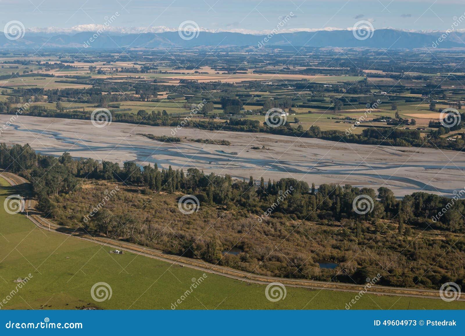 Rakaia河床鸟瞰图