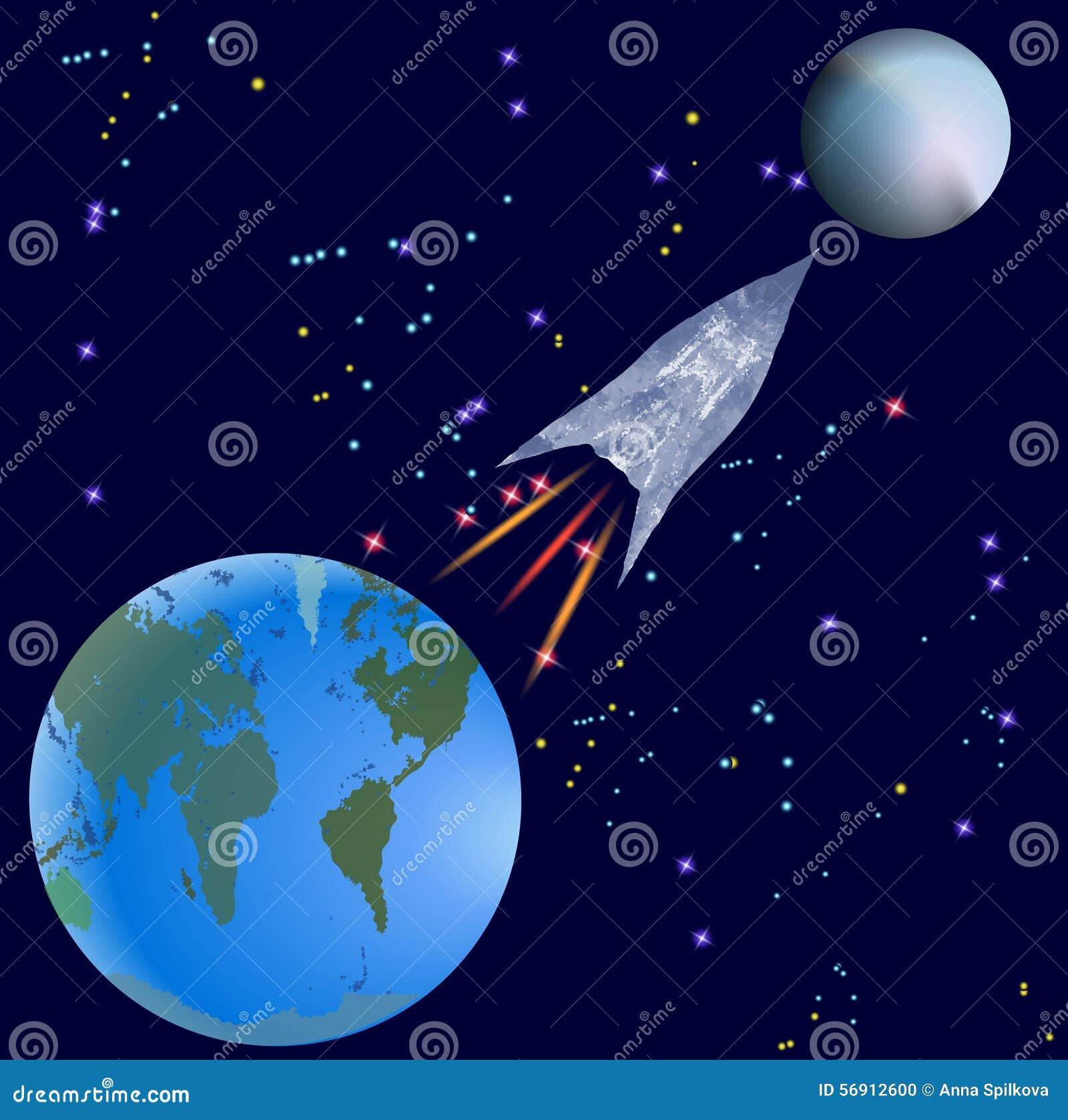 Raket die van Aarde op een onbekende planeet vliegen