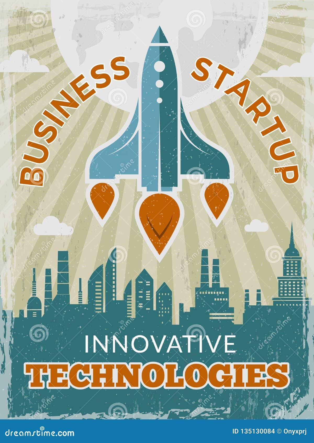 Raket retro affiche Opstarten van bedrijvenconcept met pendel of ruimteschip uitstekend creatief ruimtejaren  40 vectoraanplakbil