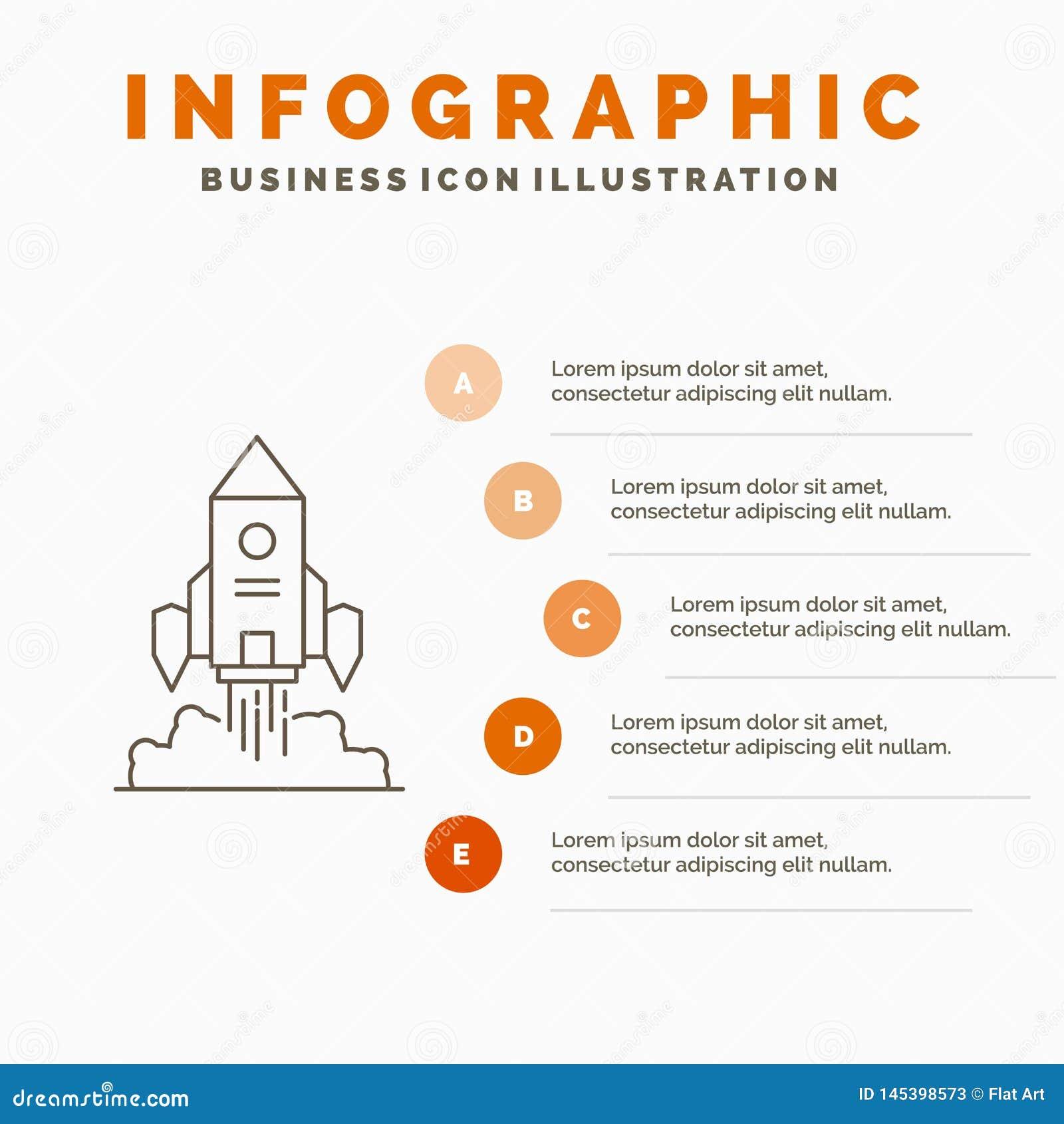 Raket, rymdskepp, start, lansering, modig Infographics mall f?r Website och presentation Linje gr? symbol med apelsinen