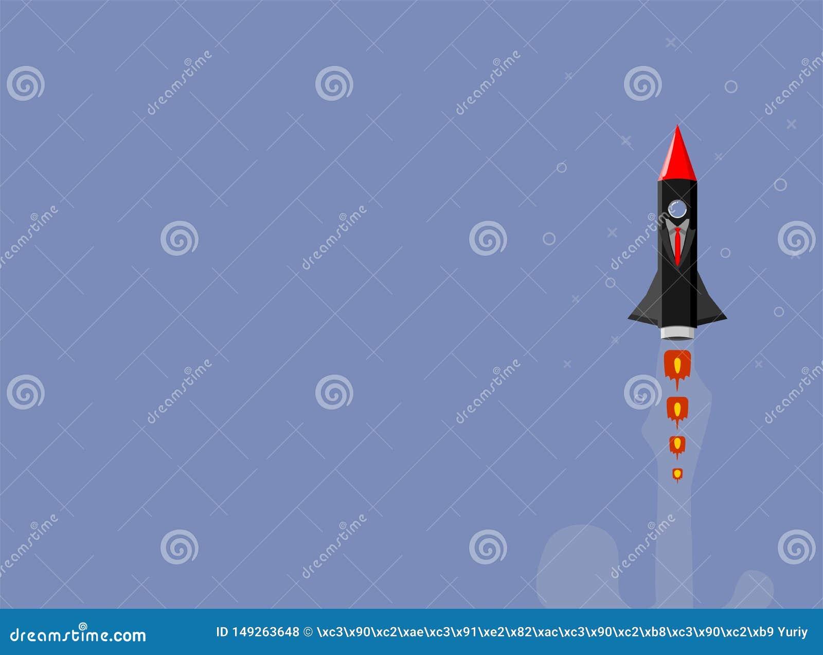 Raketskepp i en plan stil Lansering f?r utrymmeraket med moderiktiga plana stilr?kmoln Projektet startar upp ocks? vektor f?r cor