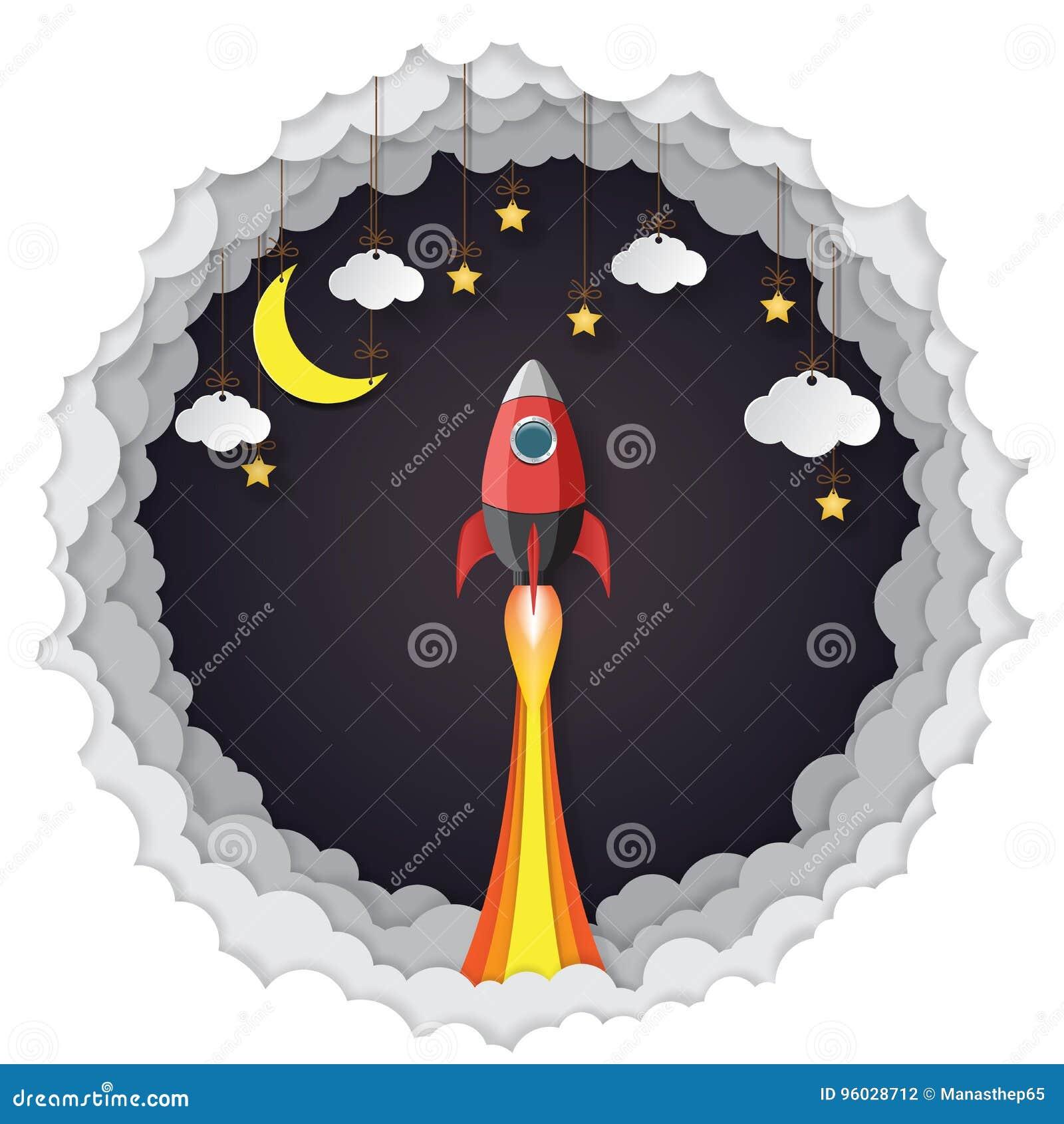 Rakieta, wiesza chmury, gwiazdy i księżyc papierowa sztuka projektuje