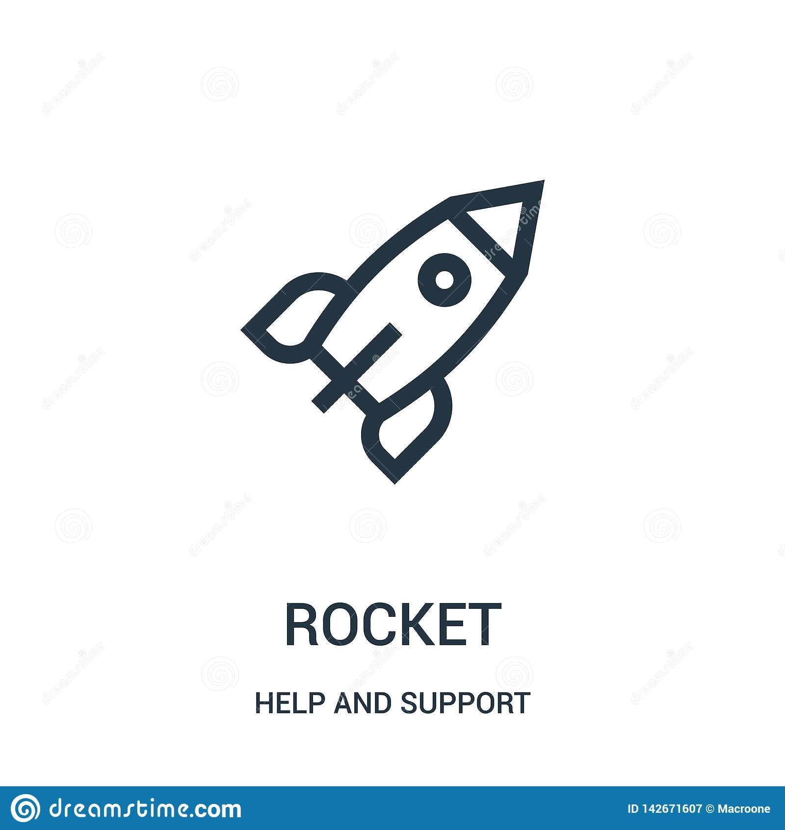 Rakietowy ikona wektor od pomocy i poparcie kolekcji Cienka linii rakiety konturu ikony wektoru ilustracja Liniowy symbol dla uży