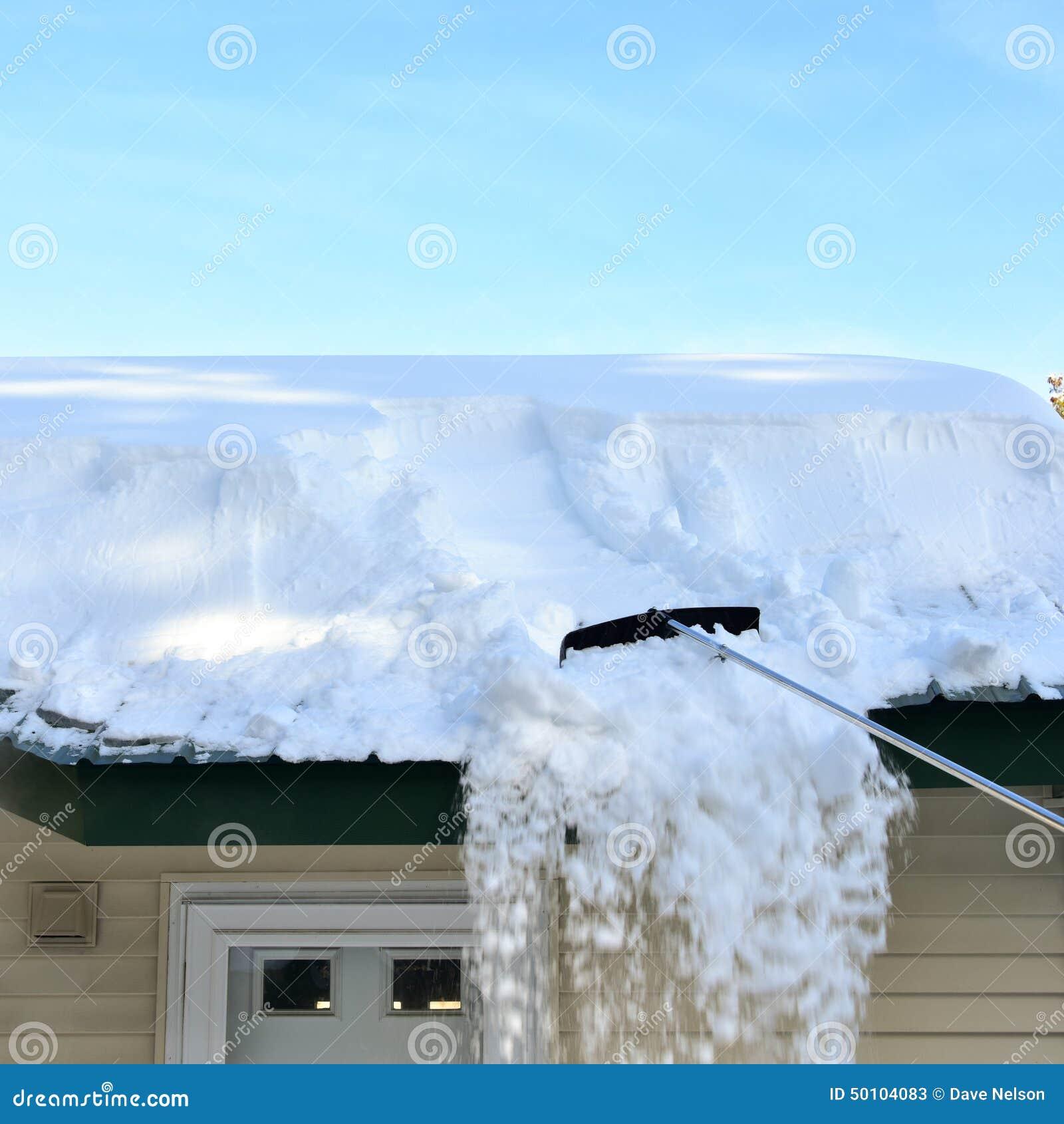 Raking snow from roof
