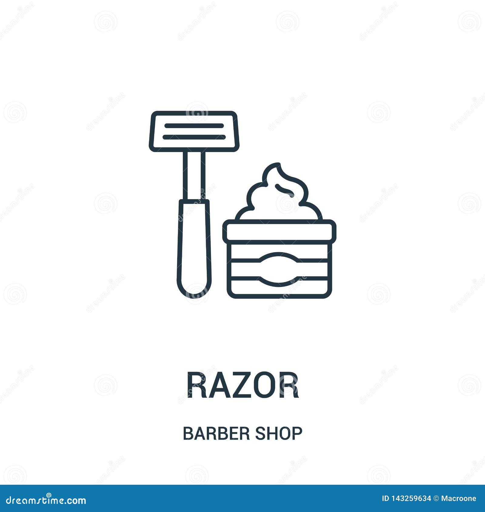 Rakknivsymbolsvektorn fr?n barberare shoppar samlingen Tunn linje illustration f?r vektor f?r rakkniv?versiktssymbol
