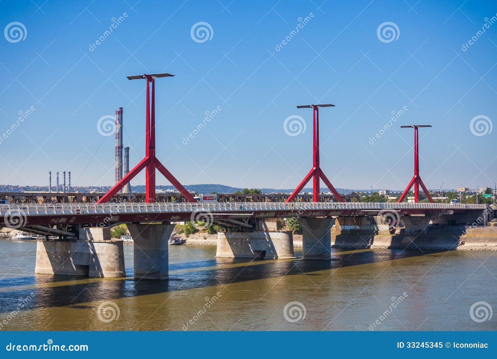 Rakoczi Bridge Pillars From Budapest Royalty Free Stock