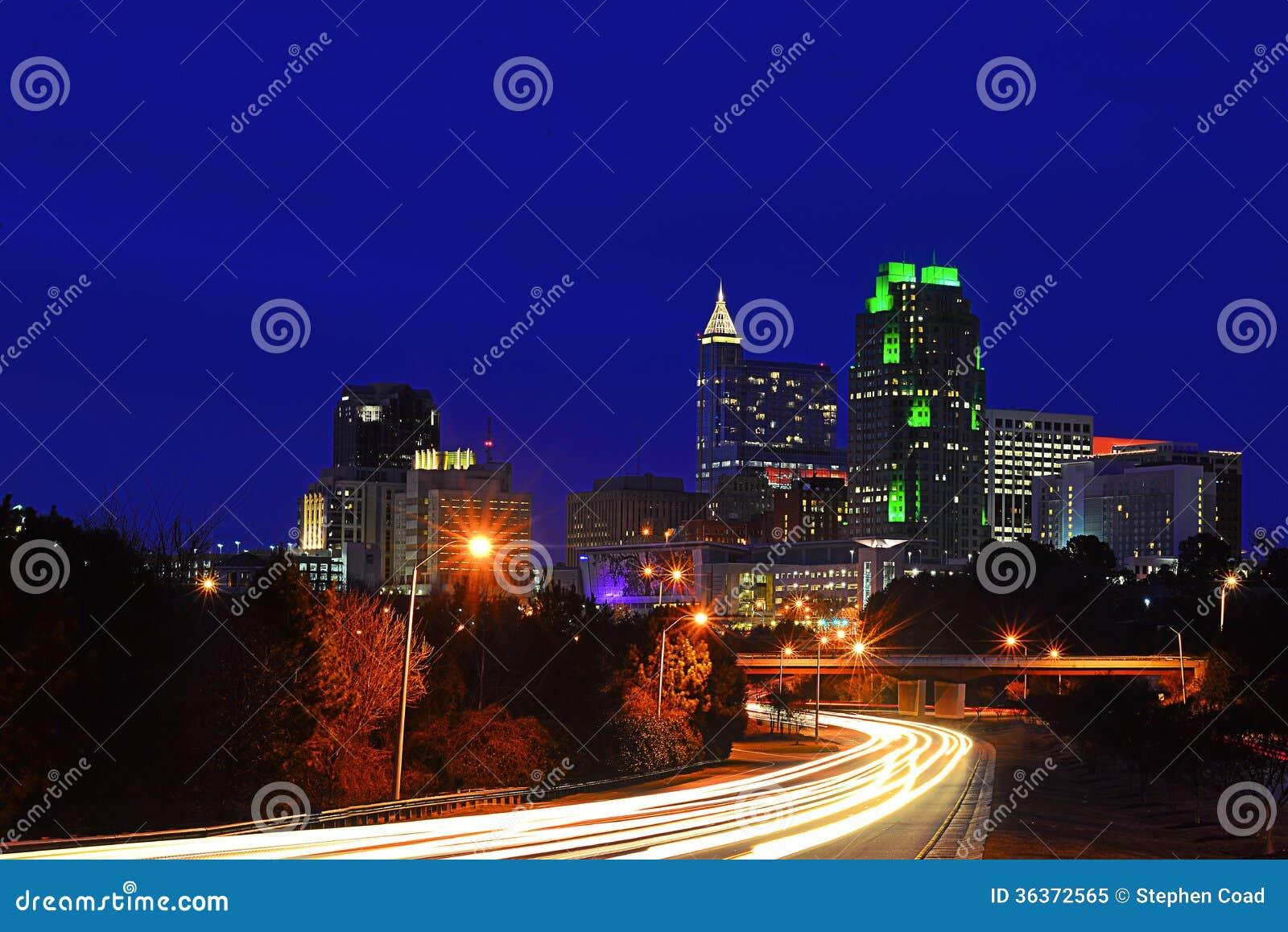Raleigh After Dark stock image  Image of carolina, traffic