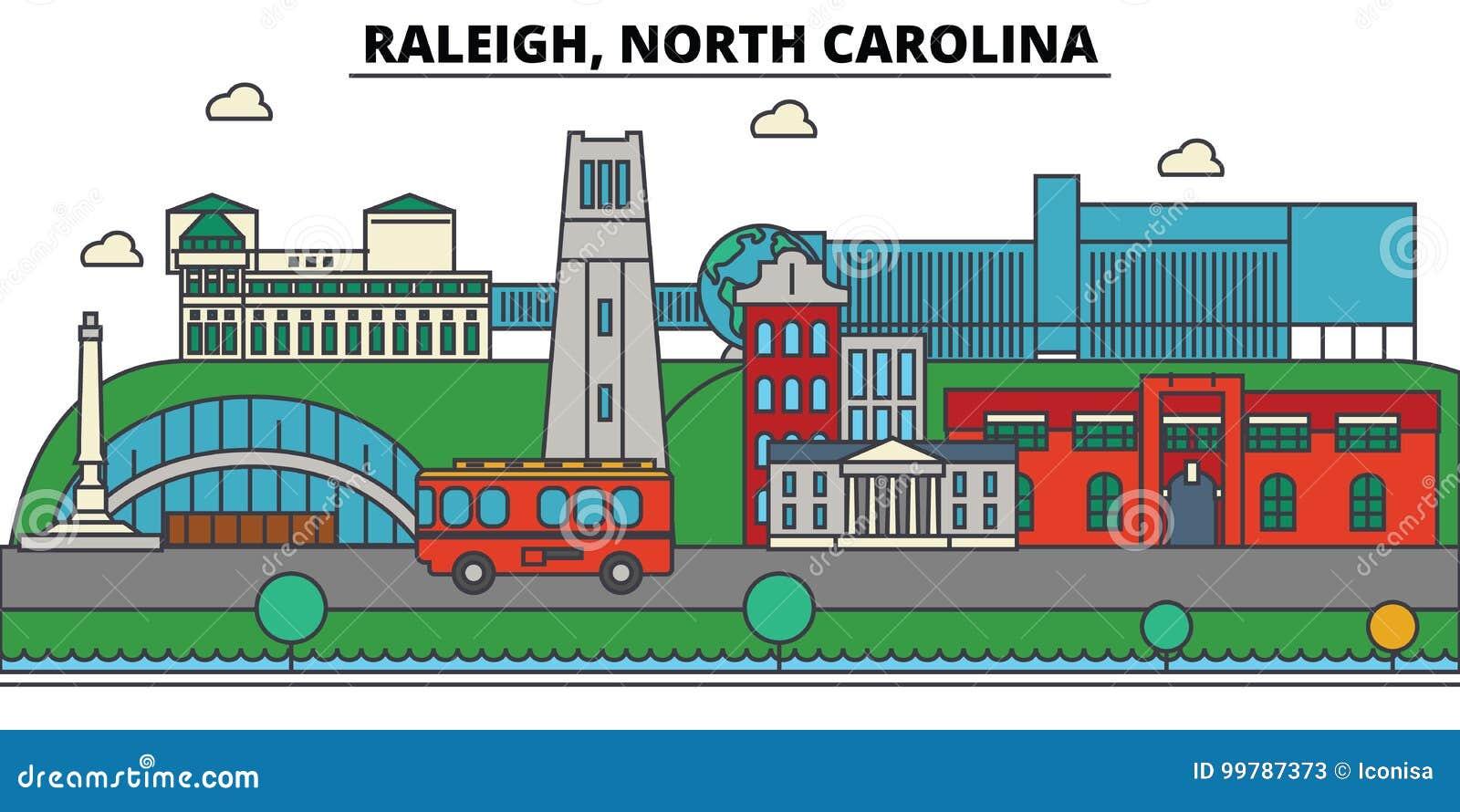 Raleigh, Noord-Carolina De architectuur van de stadshorizon