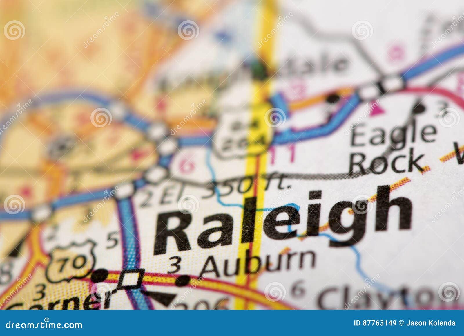 Raleigh, North Carolina auf Karte