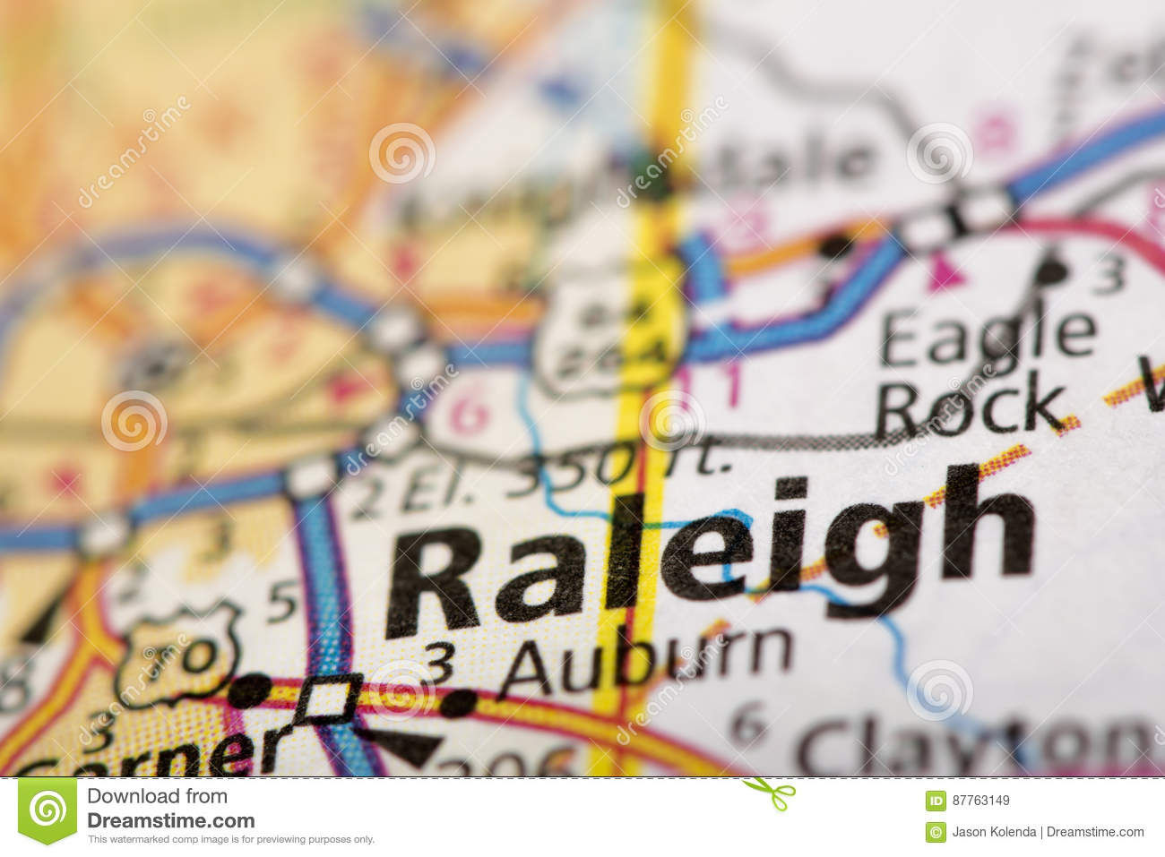 Raleigh, North Carolina On Map Stock Image - Image of raleigh, paper ...