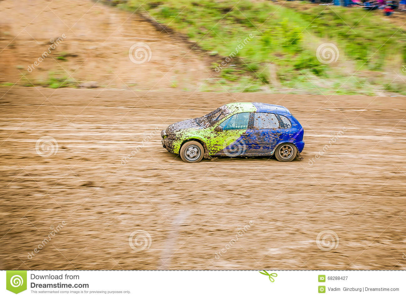 Rally car racing at the racetrack