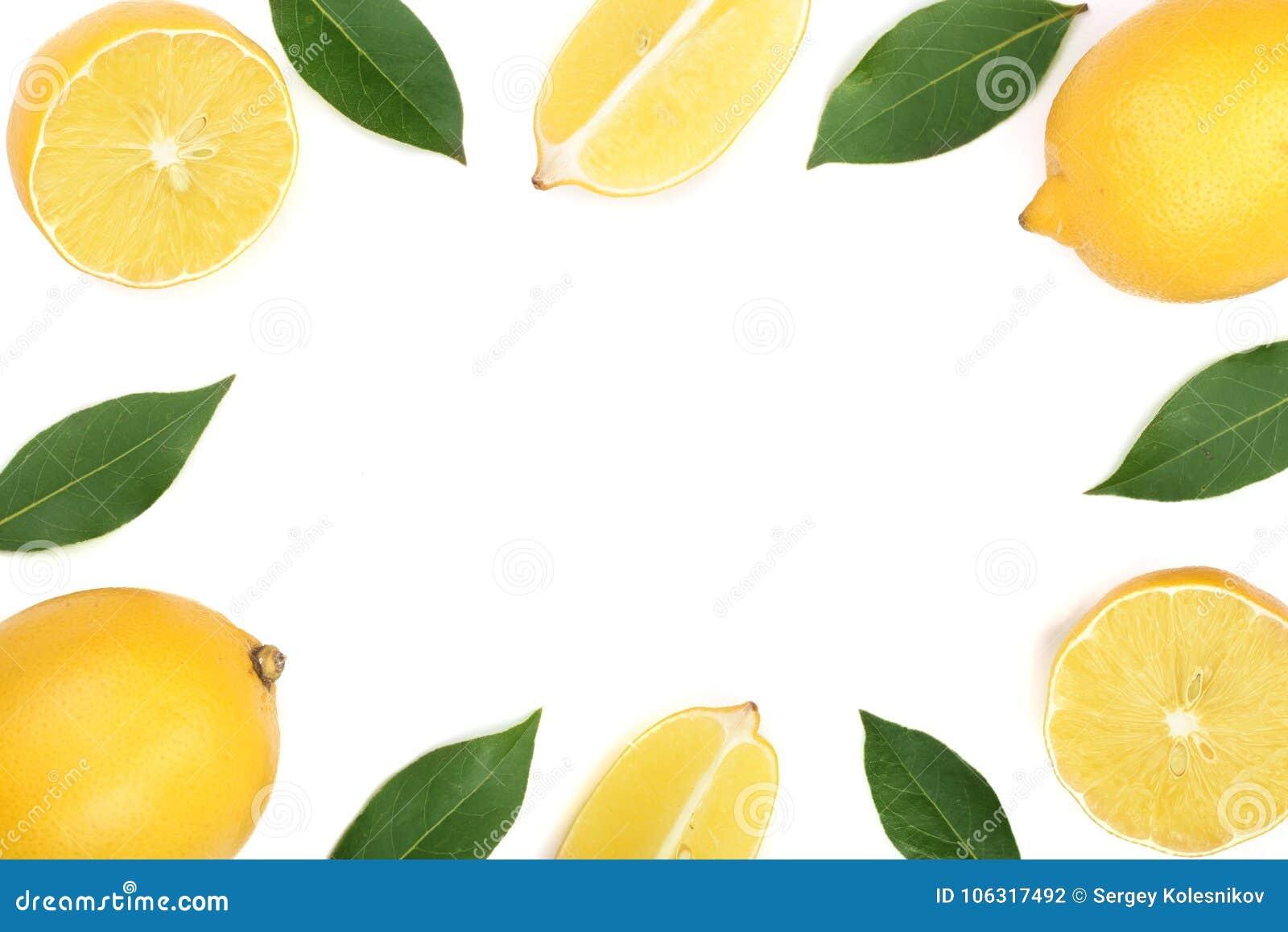 Ram av citronen med sidor som isoleras på vit bakgrund med kopieringsutrymme för din text Lekmanna- lägenhet, bästa sikt