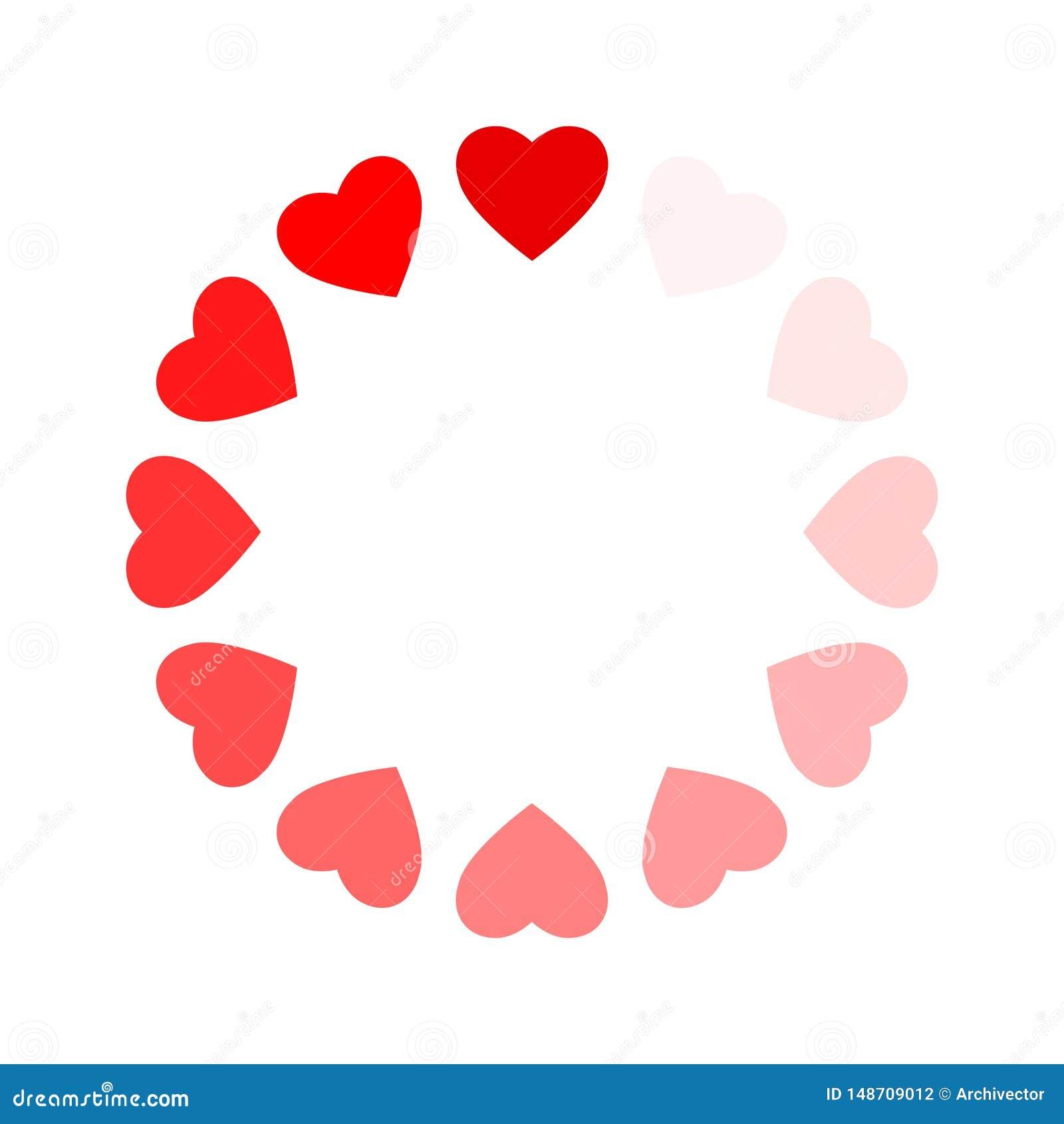 Ram av hjärtor som processen som laddar förälskelse
