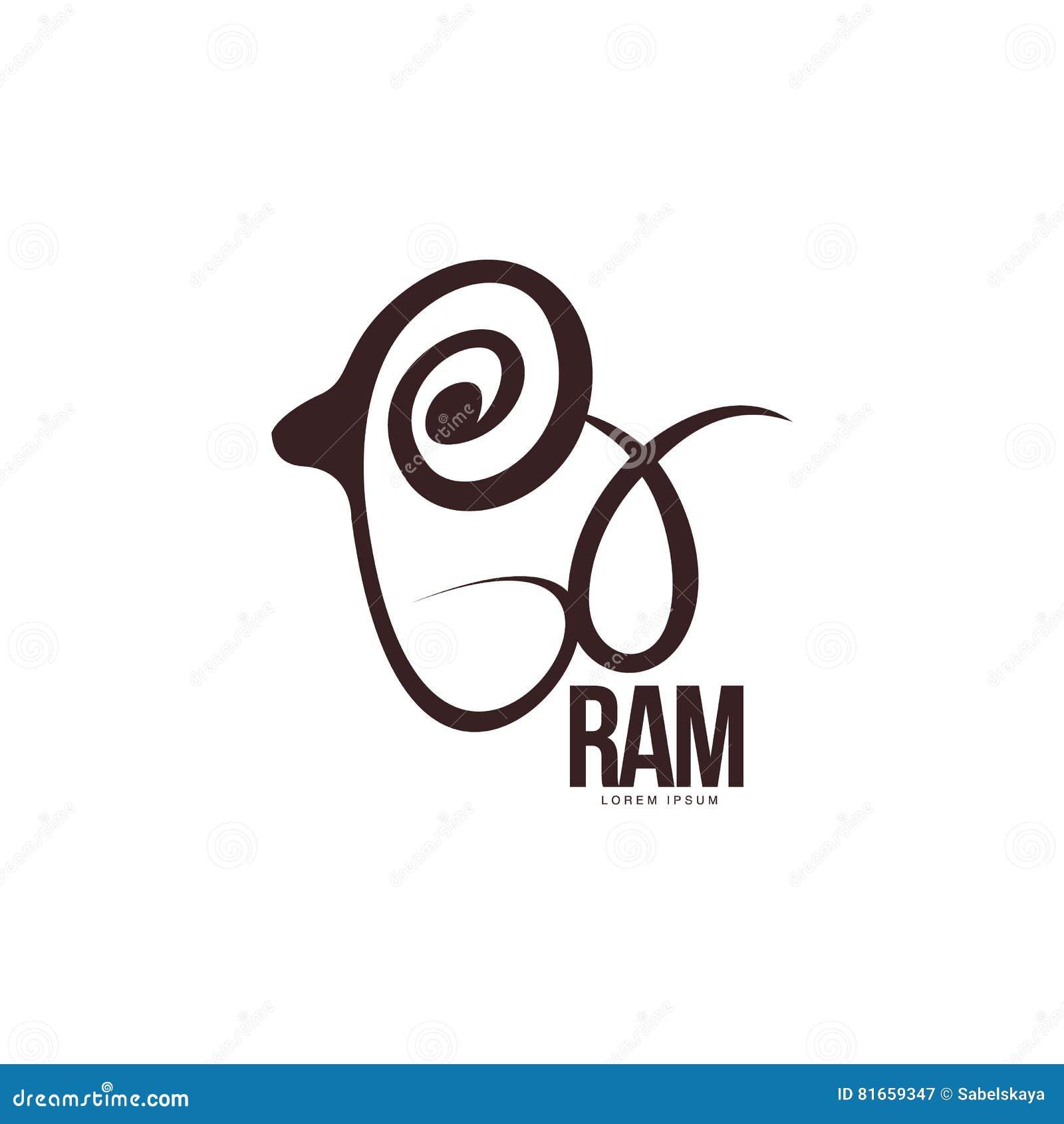 Ram Estilizado Carneiro Molde Gráfico Do Logotipo Do Esboço Do