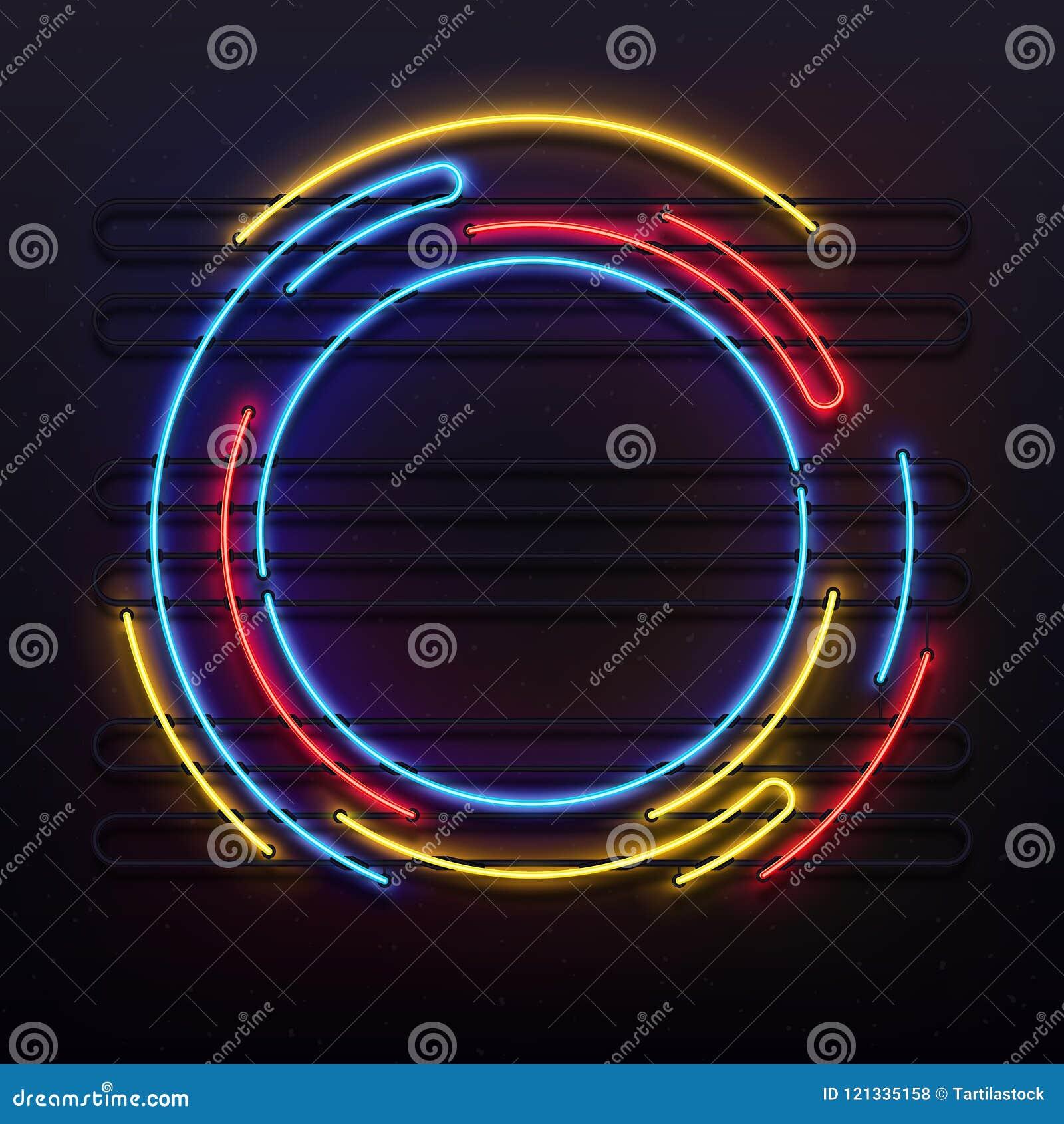Ram för cirkelneonljus Färgrikt runt rörlampljus på ram Elektrisk glödande illustration för skivavektorbakgrund