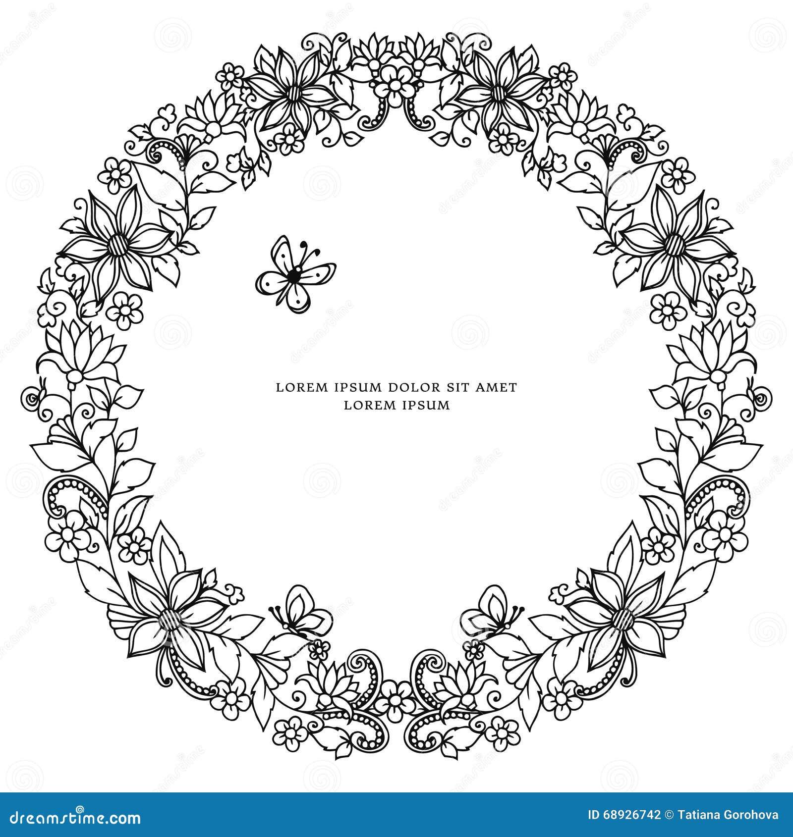 Ram för runda för vektorillustrationzentangl blom-, symmetri Klottret blommar, biet, fjärilszenart som dudling Färga för