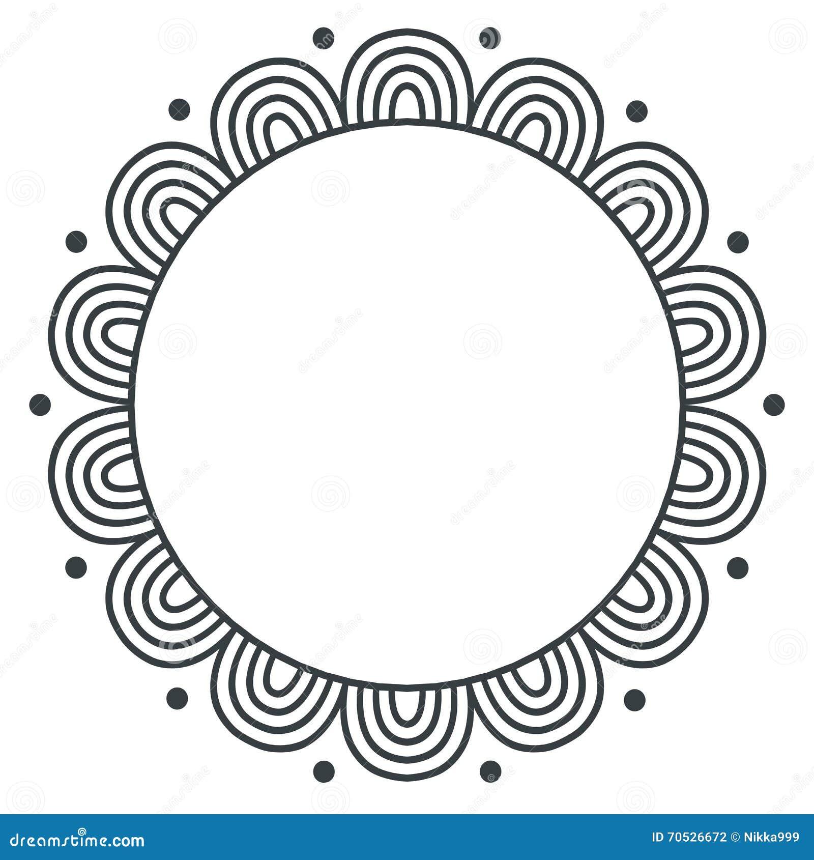 Ram för vektor för klotterzentangle monokrom på vit bakgrund