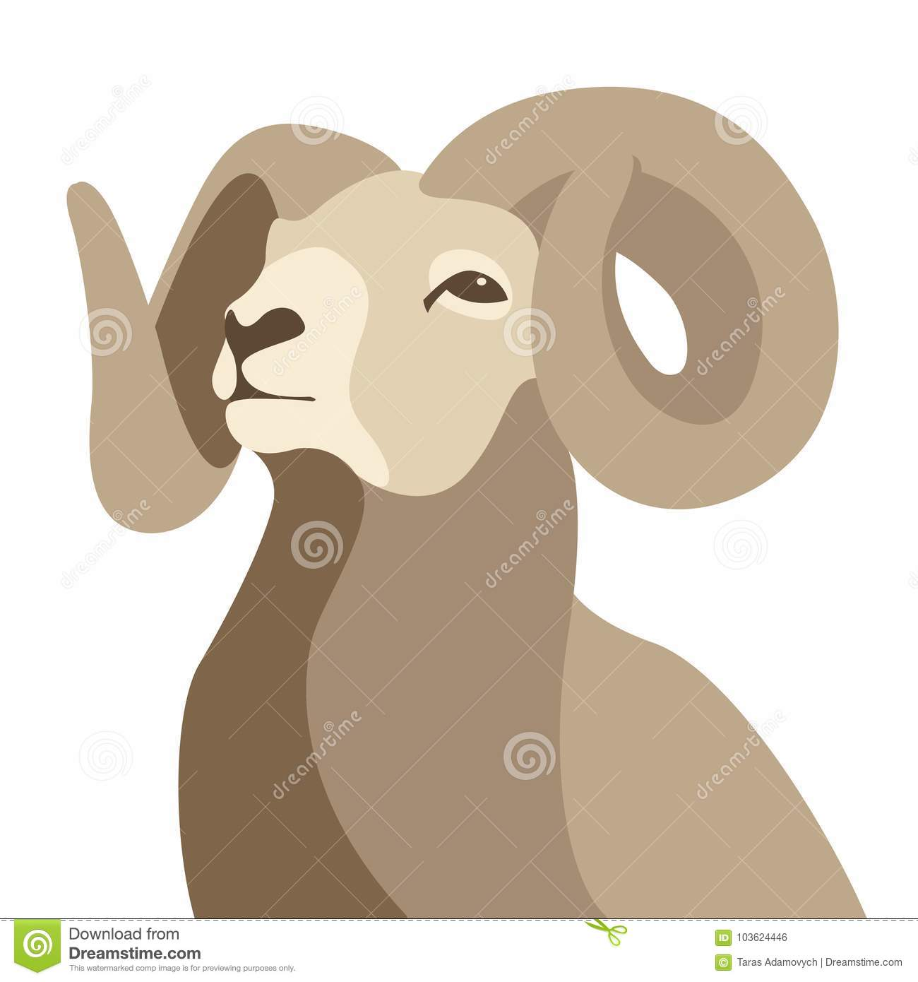 Ram Head Face Vector Illustration Flat Style Stock Vector ...