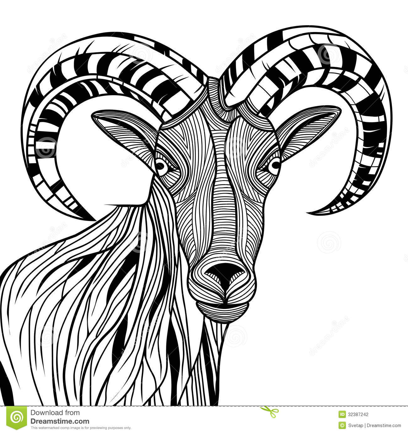 Line Art Media Design : Ram head stock vector illustration of drawn background