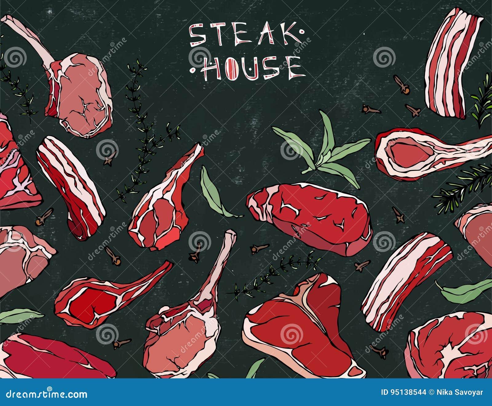Ram med köttprodukter Restaurangmeny eller slaktare Shop Template Nötköttbiff, lamm, grisköttstöd också vektor för coreldrawillus