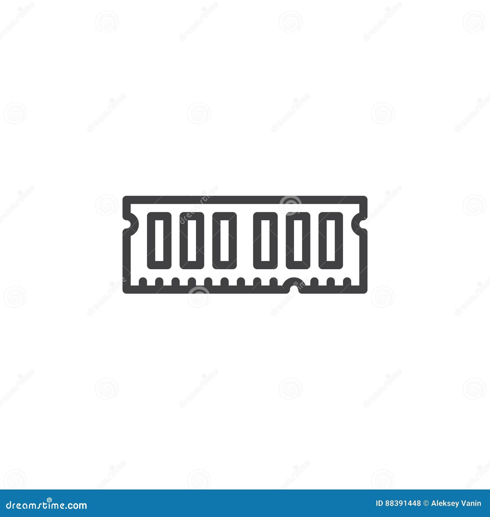 RAM, przypadkowa dojazdowej pamięci linii ikona, konturu wektoru znak, liniowy stylowy piktogram odizolowywający na bielu