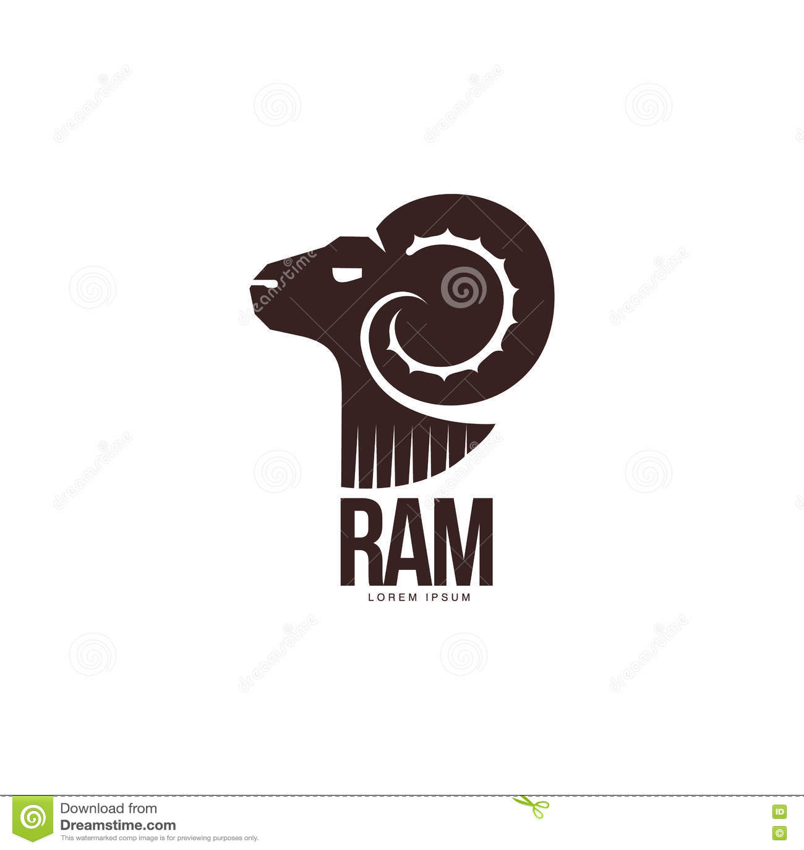 Ram, Sheep, Lamb Head Silhouette Graphic Logo Template Stock Vector