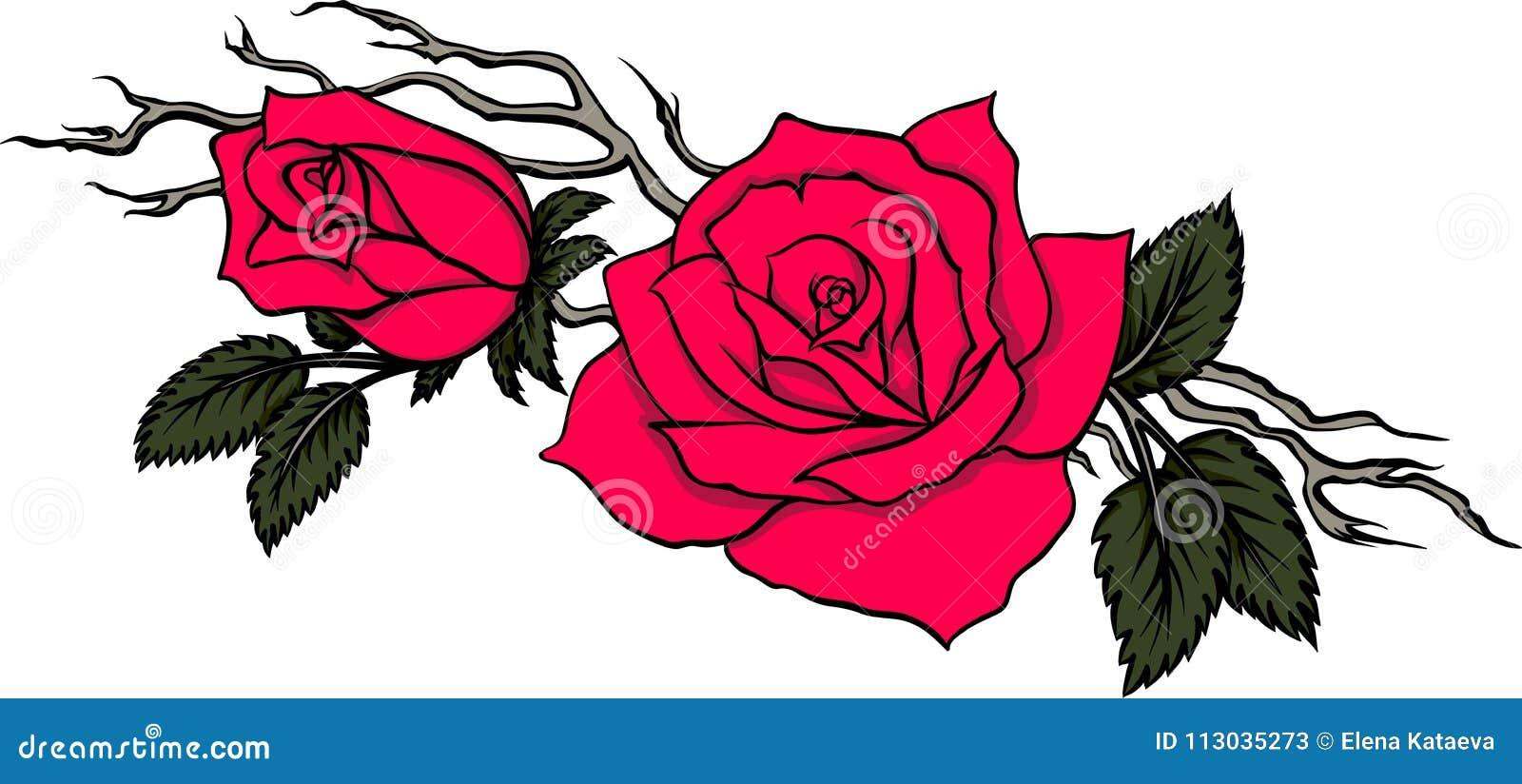 Rama agraciada con dos rosas rojas