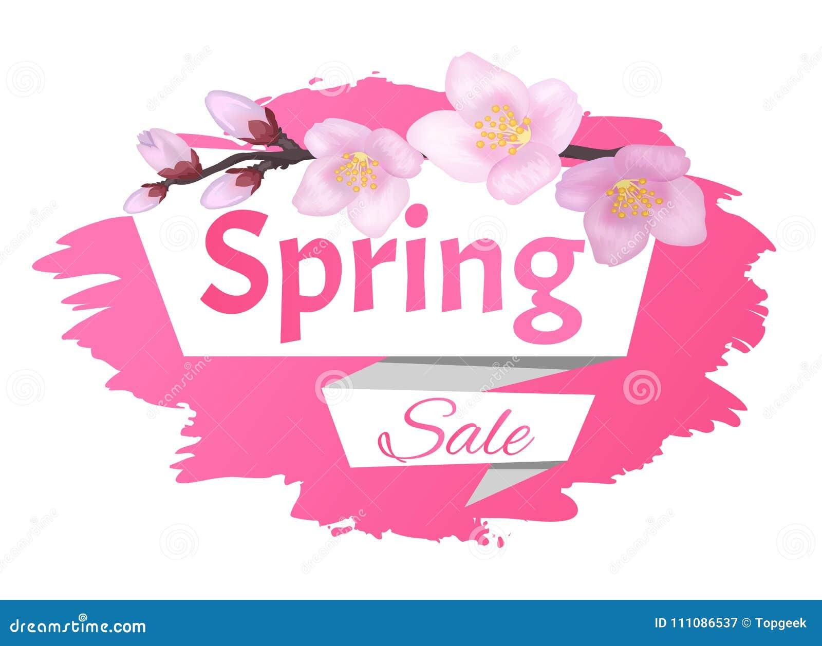 Rama de la etiqueta del anuncio de la venta de la primavera de Sakura