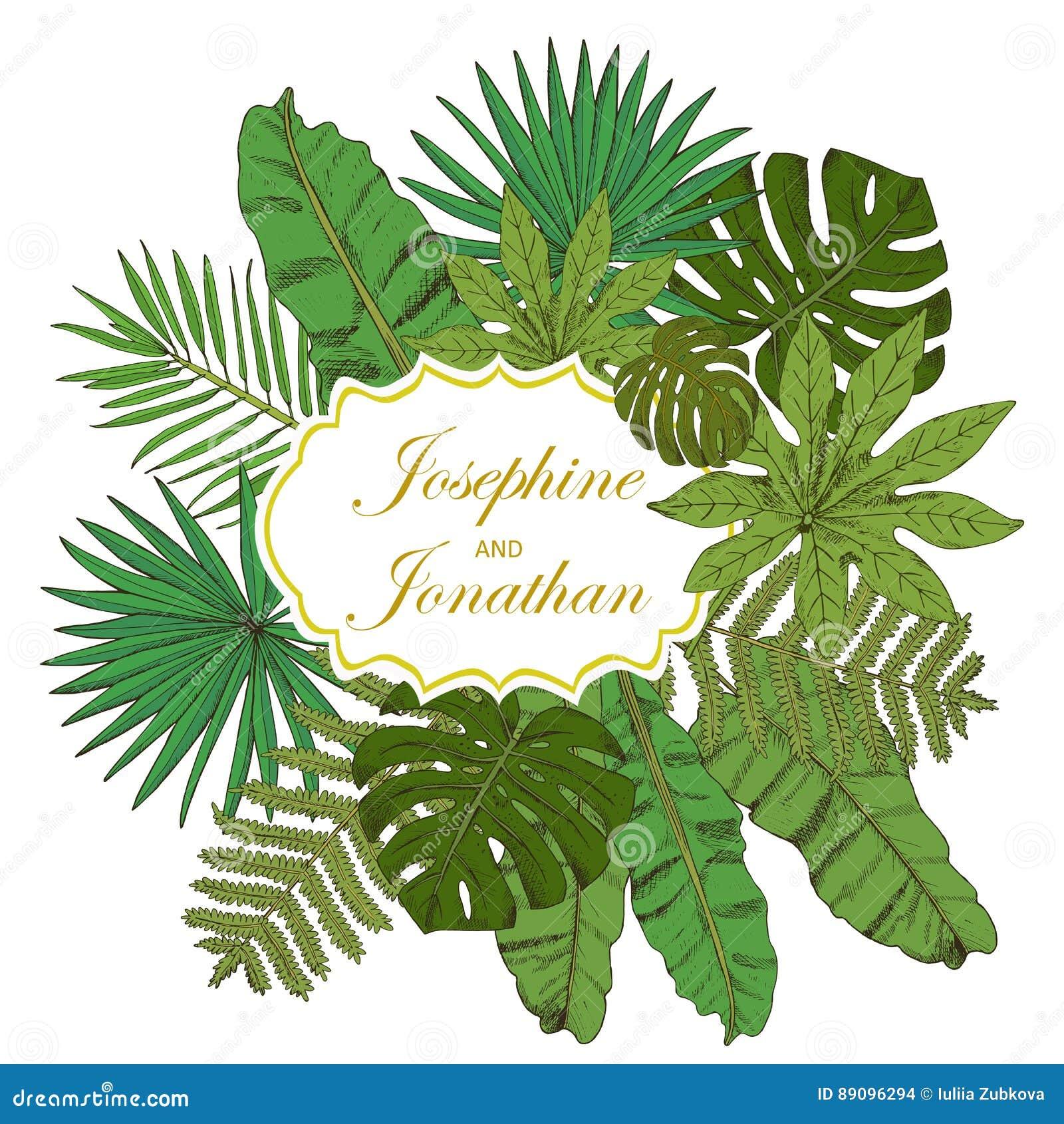 Rama kwiecista wrobić serii Kolekcja z tropikalnymi liśćmi w nakreślenie stylu de