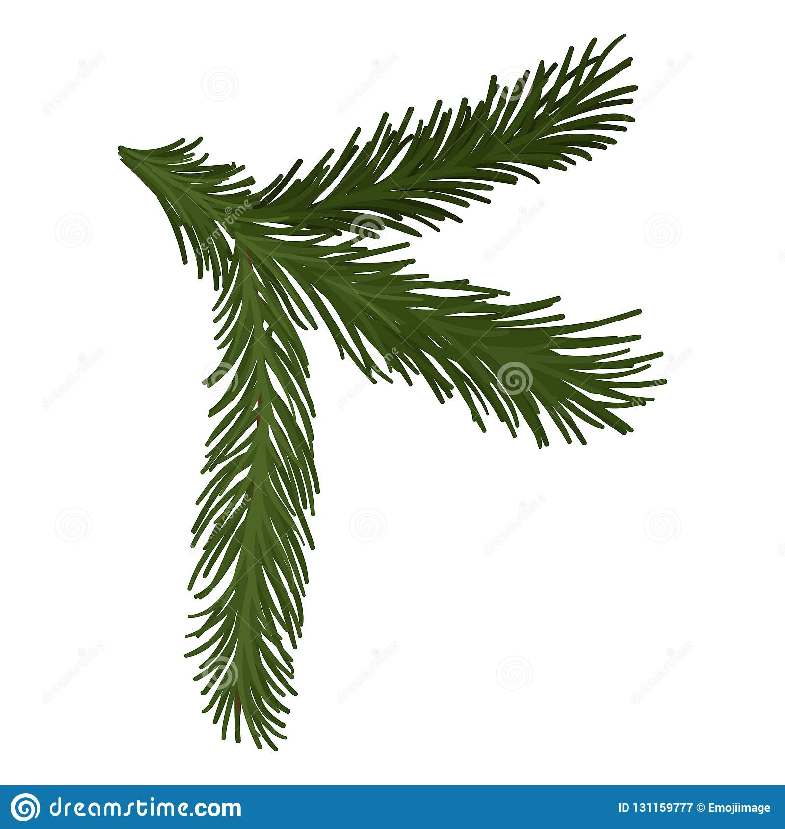 Rama mullida verde del pino con las agujas cortas Símbolo de la Navidad Tema de la naturaleza y de la botánica Icono plano del ve