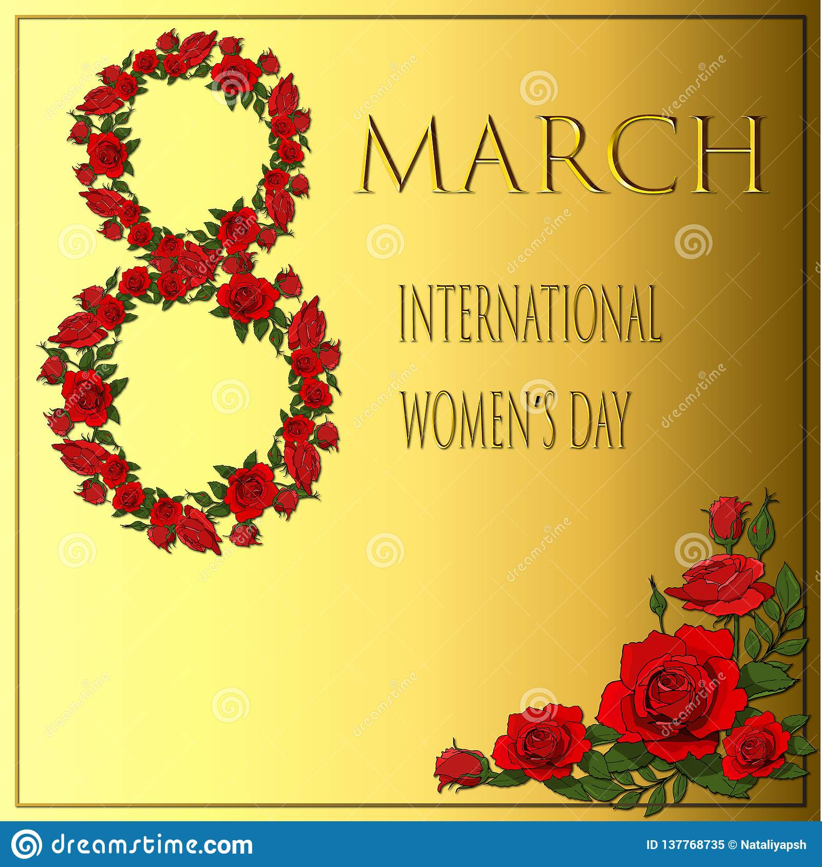 Rama z czerwonymi różami dla międzynarodowej womendnia karty