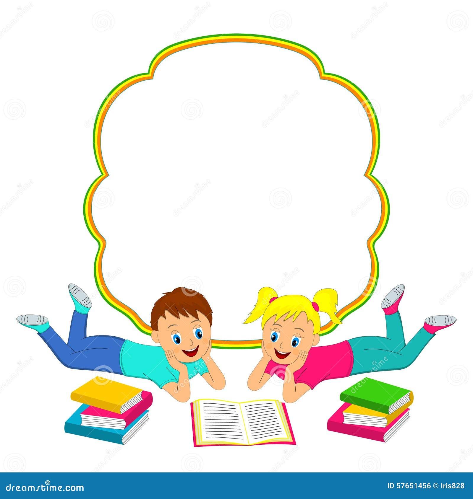 Rama z dziećmi, chłopiec i dziewczyną czyta książkę,
