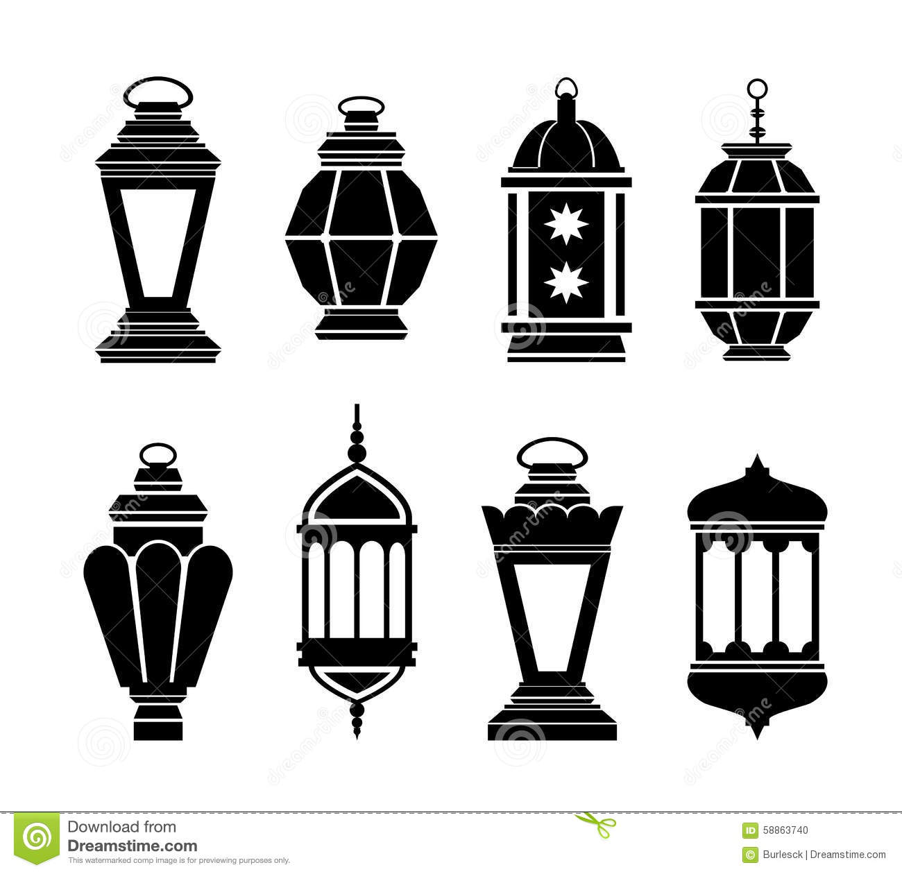 Ramadan Arabic Lanterns Stock Vector Image 58863740