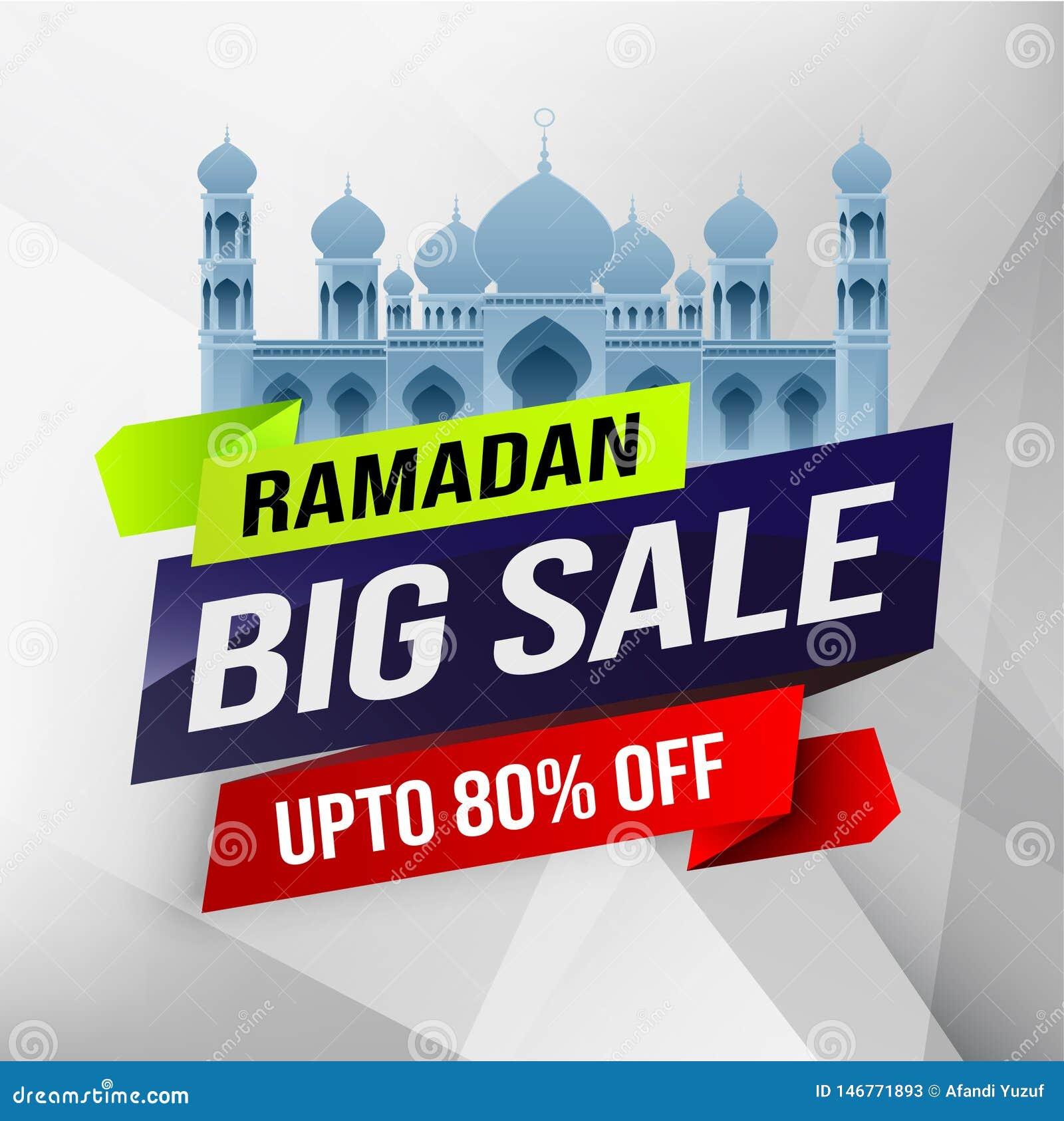 Ramadan du?a sprzeda?, sie? chodnikowiec, sztandaru plakatowy projekt z p??ksi??yc meczetem lub mieszkanie 80  z ofert na kwiecis