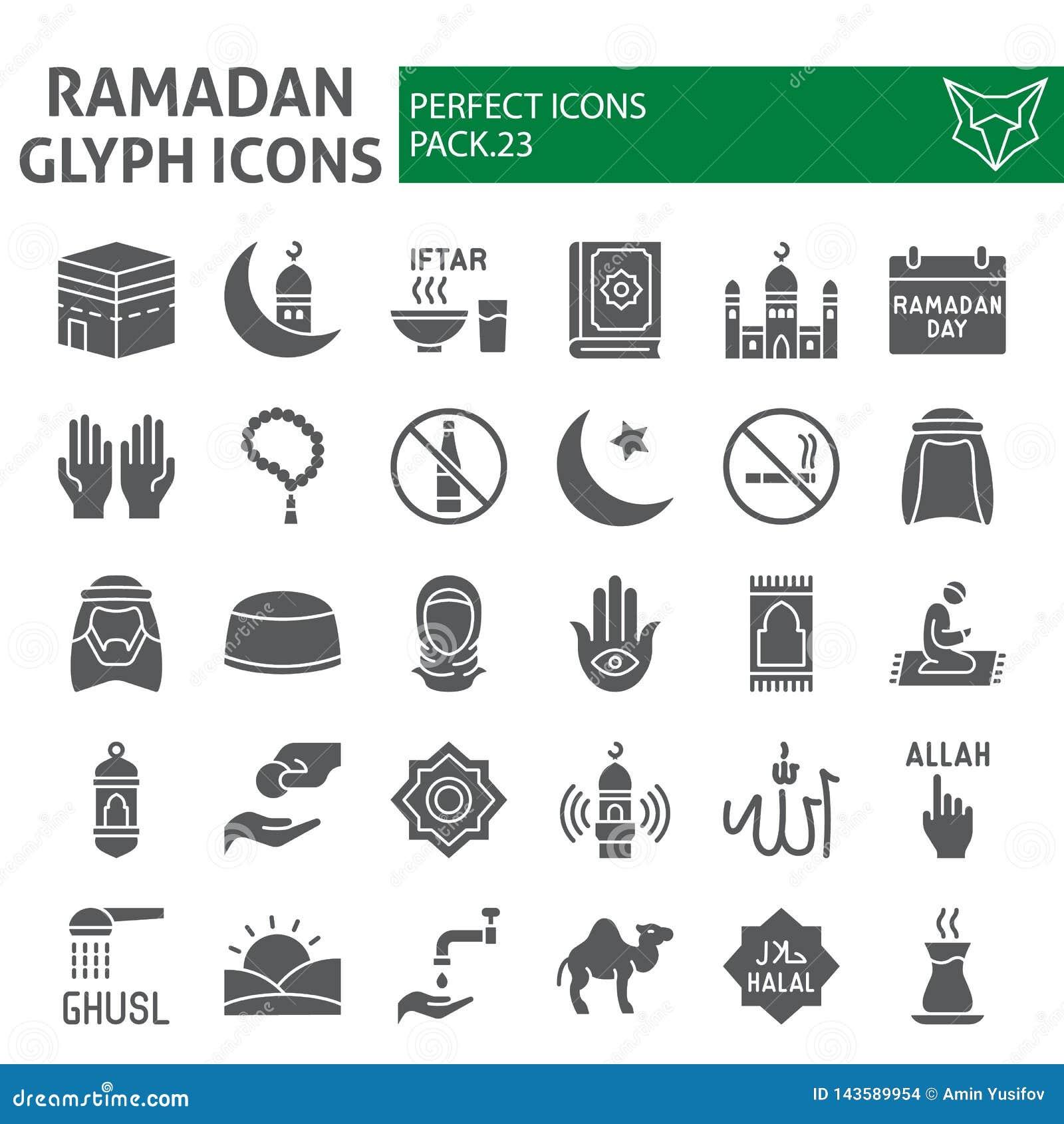 Ramadan-Glyphikonensatz, islamische Symbole Sammlung, Vektorskizzen, Logoillustrationen, feste Piktogramme der moslemischen Zeich