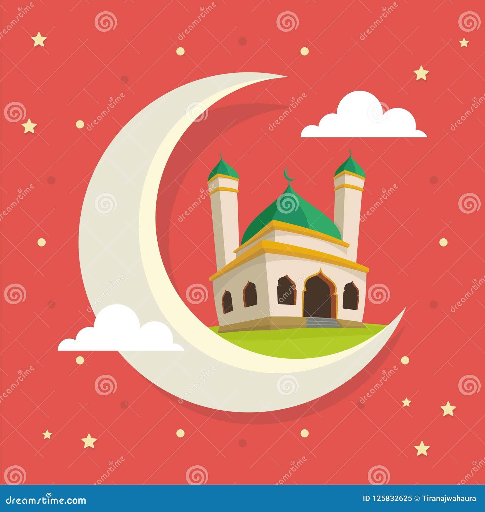 Ramadan Greeting Card avec la mosquée de bande dessinée sur la lune