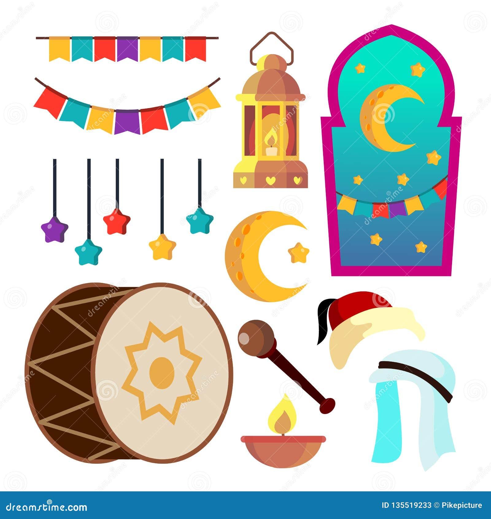 Ramadan Icons Vector Muslimska islamsymboler Måne stjärna, lampa Isolerad plan tecknad filmillustration