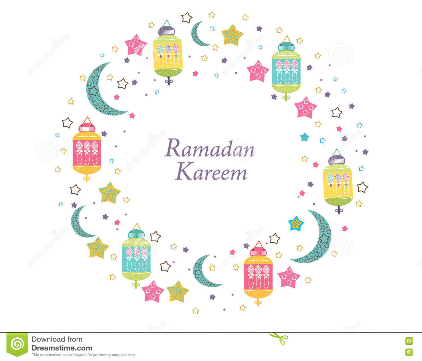Ramadan Kareem με τους λαμπτήρες, τις ημισελήνους και τα αστέρια Παραδοσιακό φανάρι της ζωηρόχρωμης διανυσματικής απεικόνισης πλα
