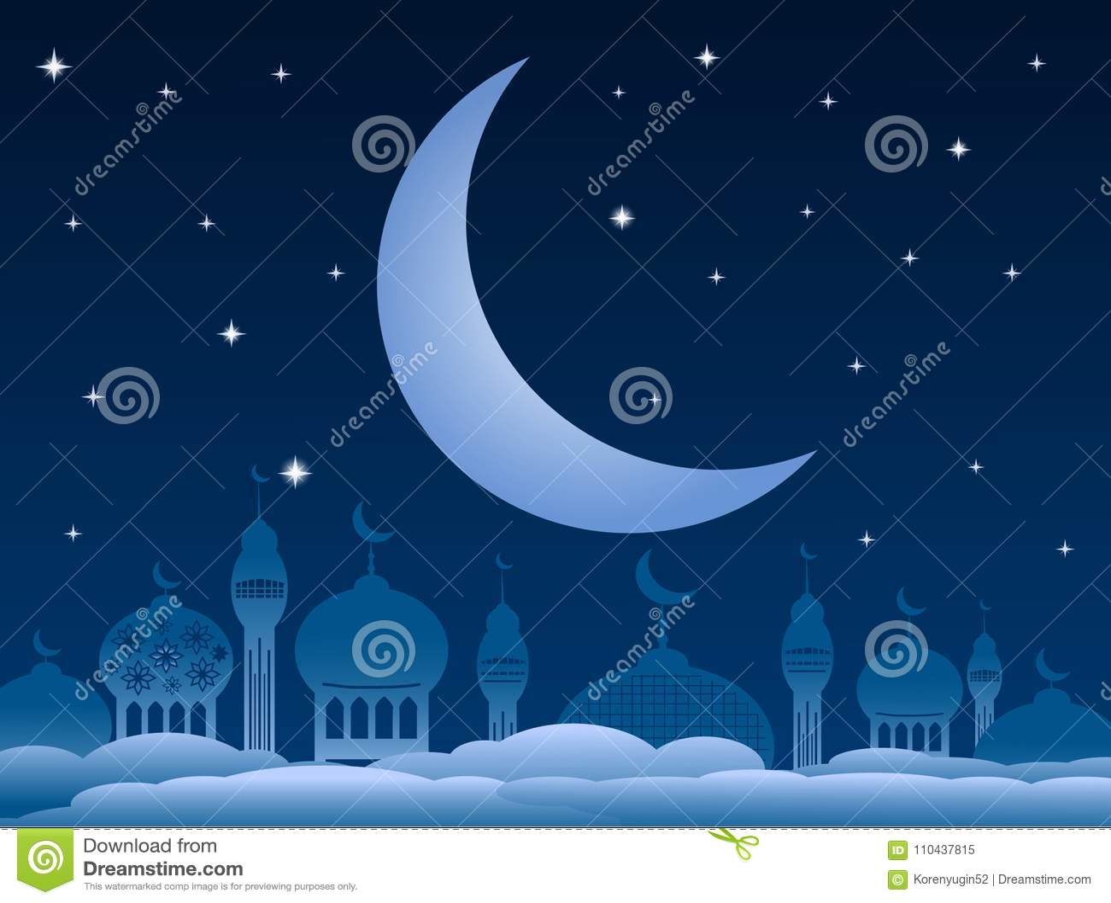 Ramadan kareem achtergrond met moskee en maan op nachthemel Vec