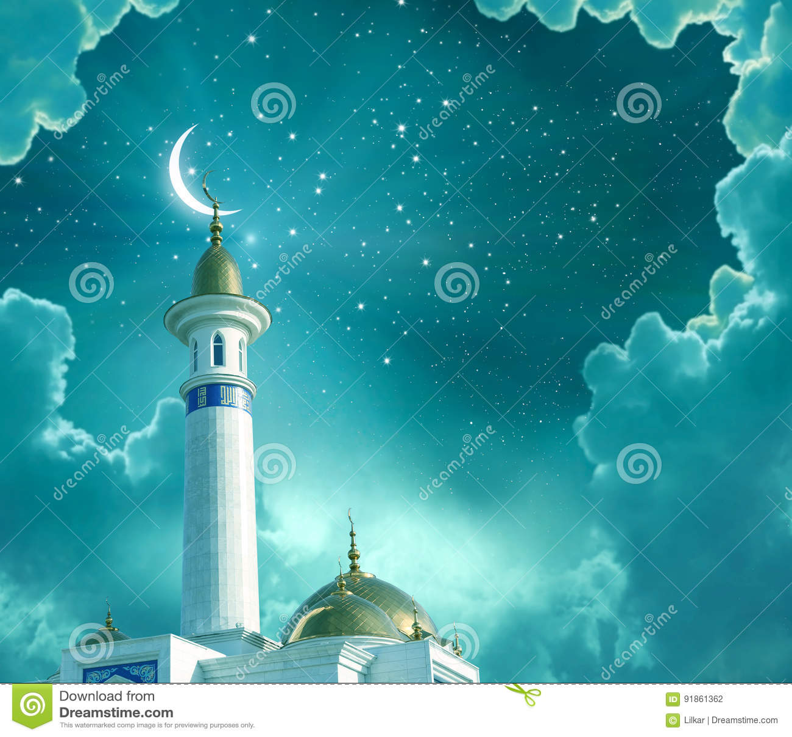 Ramadan Kareem-achtergrond Toenemende maan bij een bovenkant van een moskee isl