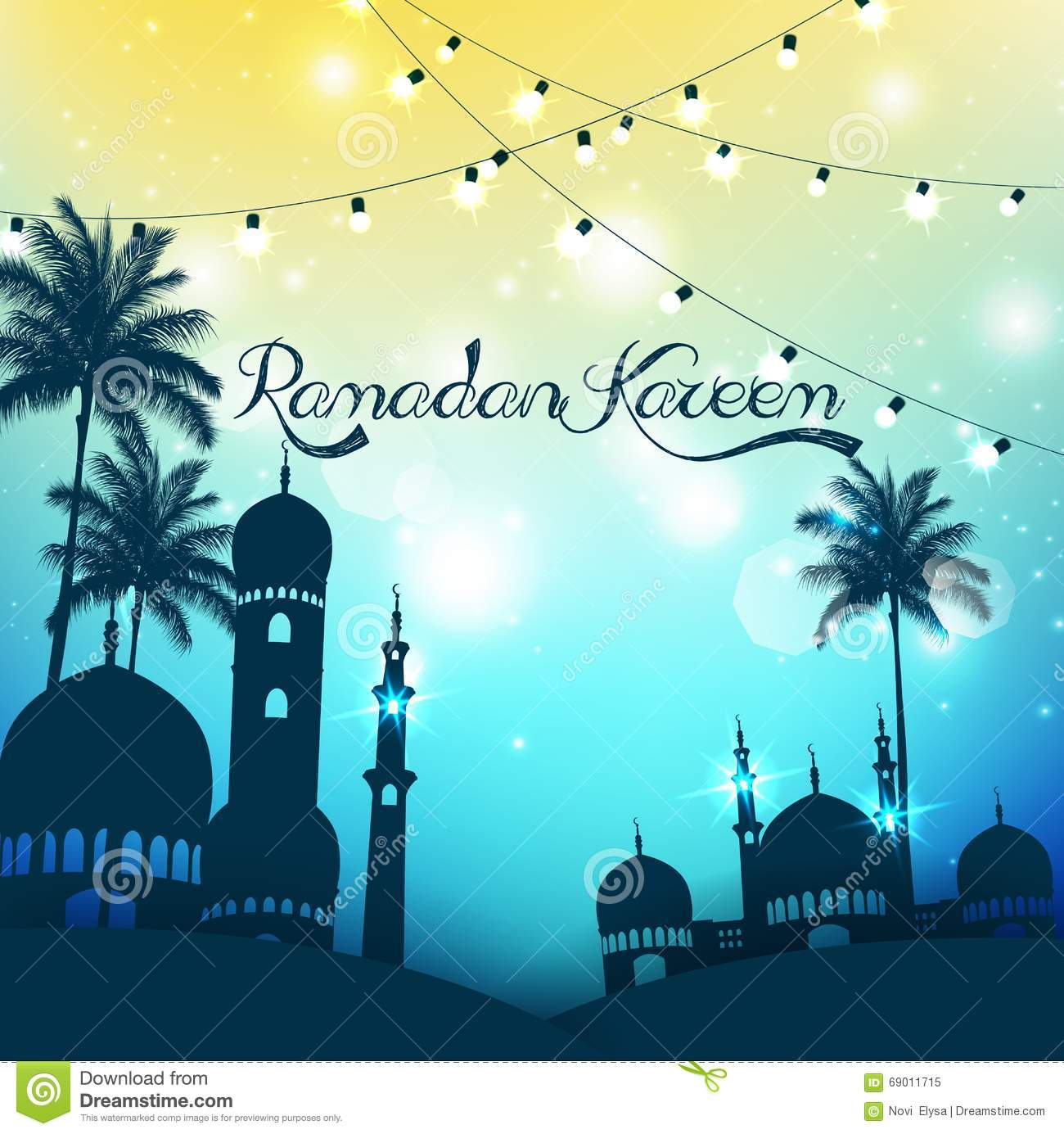Mosque background for ramadan kareem stock photography image - Ramadan Kareem Background With Mosque And Palm Tree Royalty Free Stock Photo
