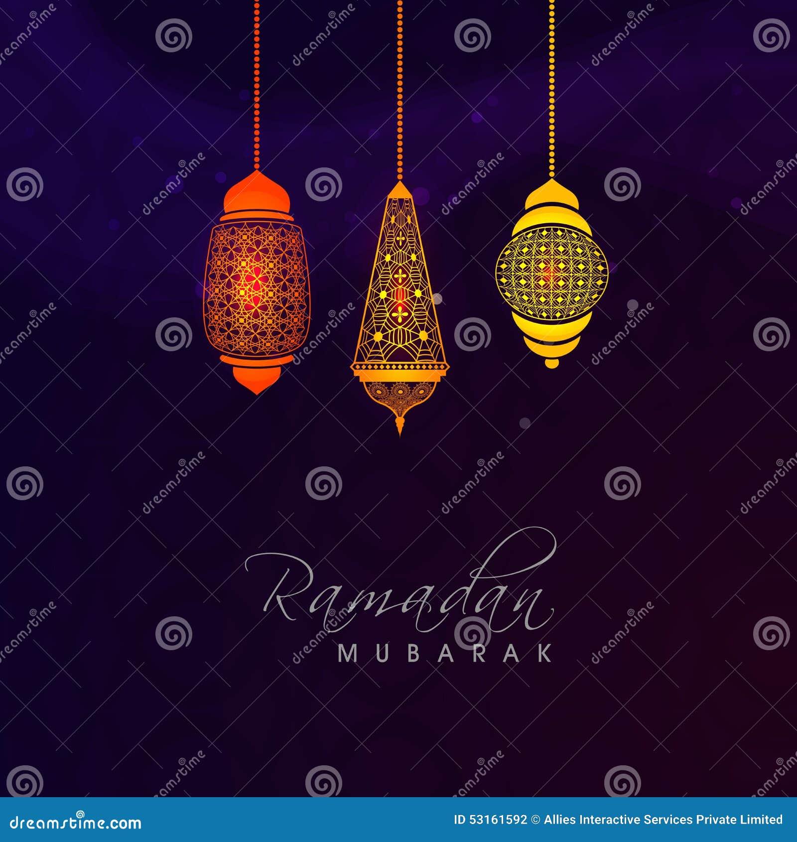 Ramadan Kareem beröm med färgrika arabiska lampor