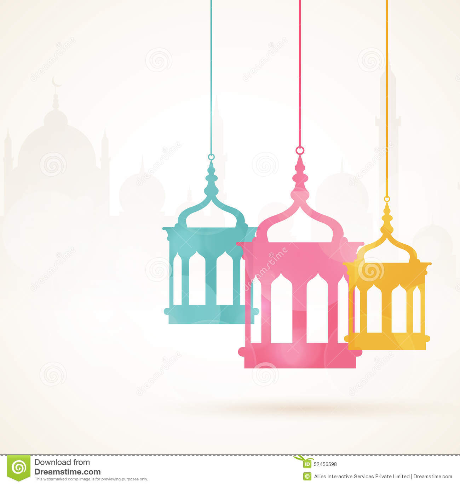 Ramadan Kareem Celebration With Colorful Hanging Arabic