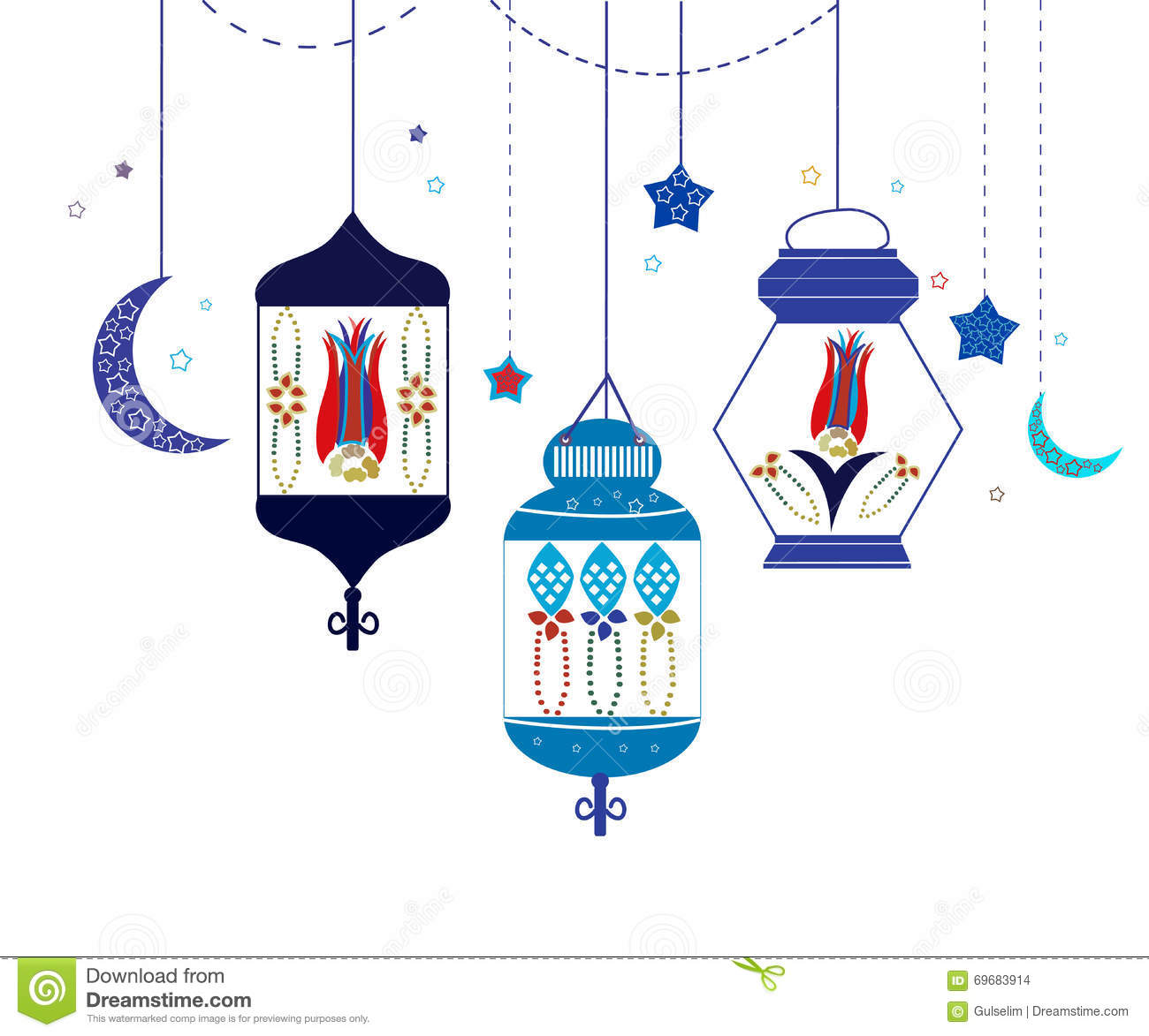 Ramadan Kareem With Colorful Lamps Crescents And Stars Traditional