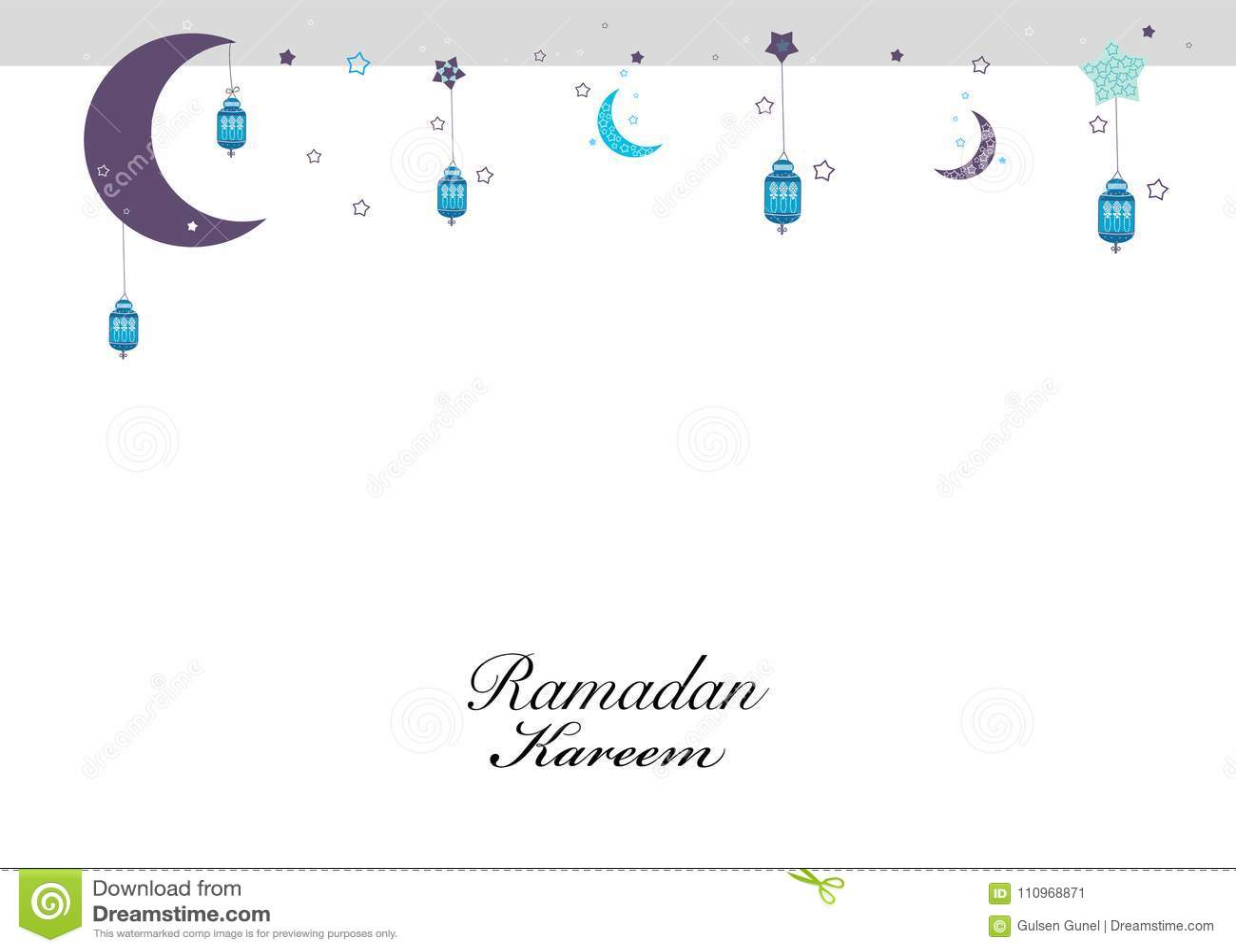 Ramadan Kareem com lua e as estrelas de suspensão Estrelas das noites da ramadã, cartão tradicional da lanterna