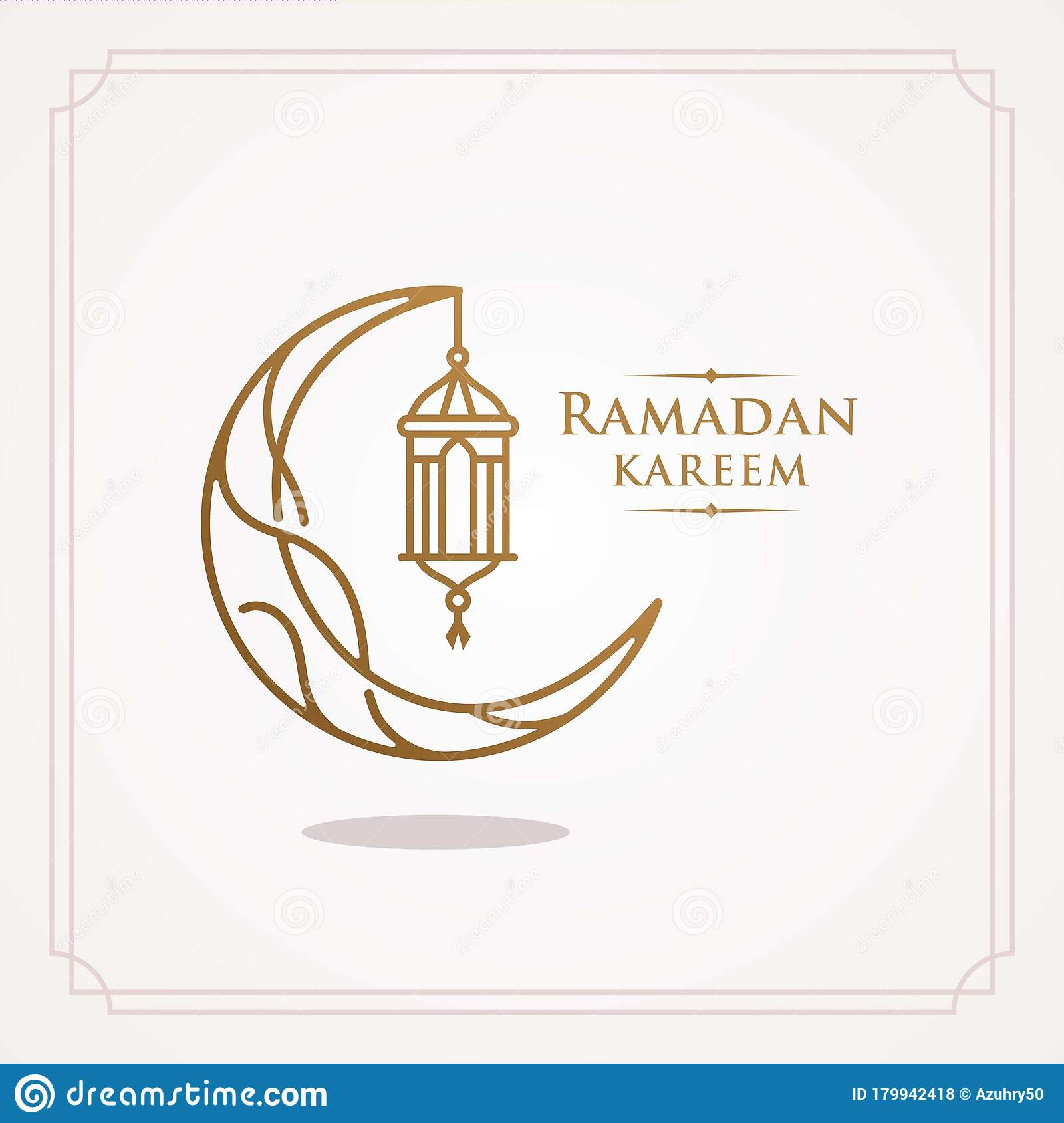 Ramadan Kareem Greeting Line Icon Minimal And Simple Vector Design With Beautiful Glowing Lantern And Elegant Crescent Moon Stock Vector Illustration Of Banner Flyer 179942418