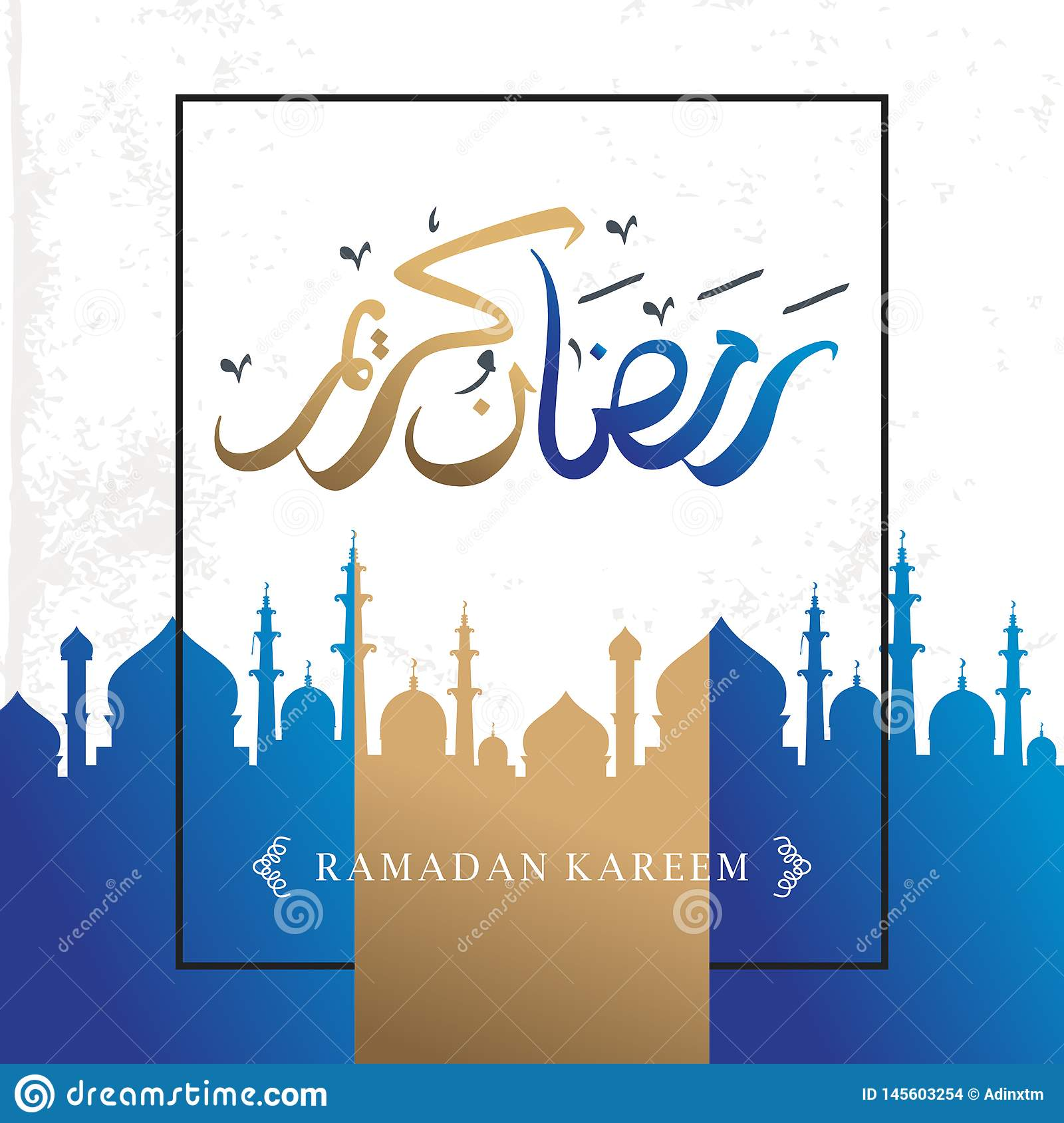 Ramadan Kareem elegant design greeting background for muslim community with arabic calligraphy and frame colorful style