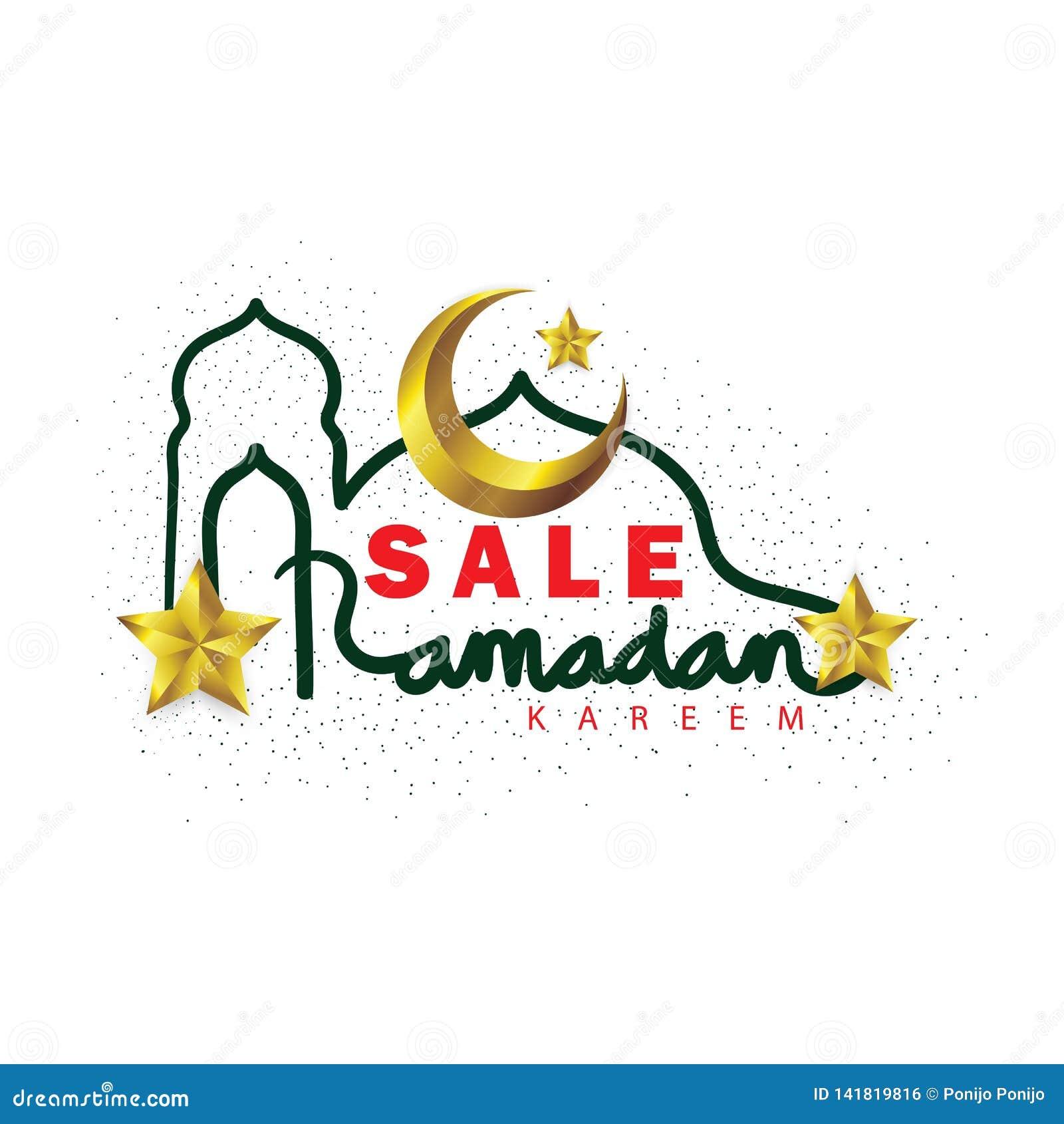 Ramadan Kareem försäljningsbokstäver med den guld- växande månen och stjärnor
