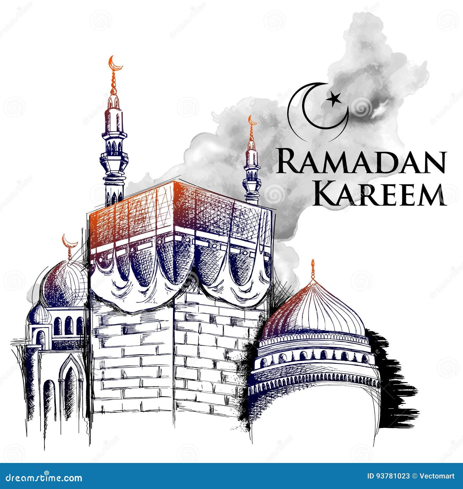 Ramadan Kareem Generous Ramadan hälsningar för den religiösa festivalen Eid för islam med freehand skissar Meckabyggnad