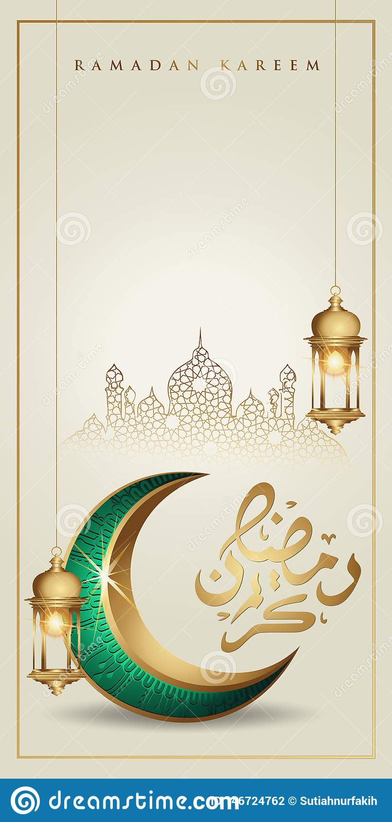 Ramadan Kareem With Golden Luxurious Crescent Moon And Traditional